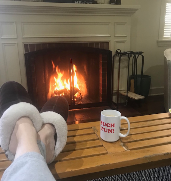 Still chilly enough for a daytime fire here. Anyone know my mug reference?