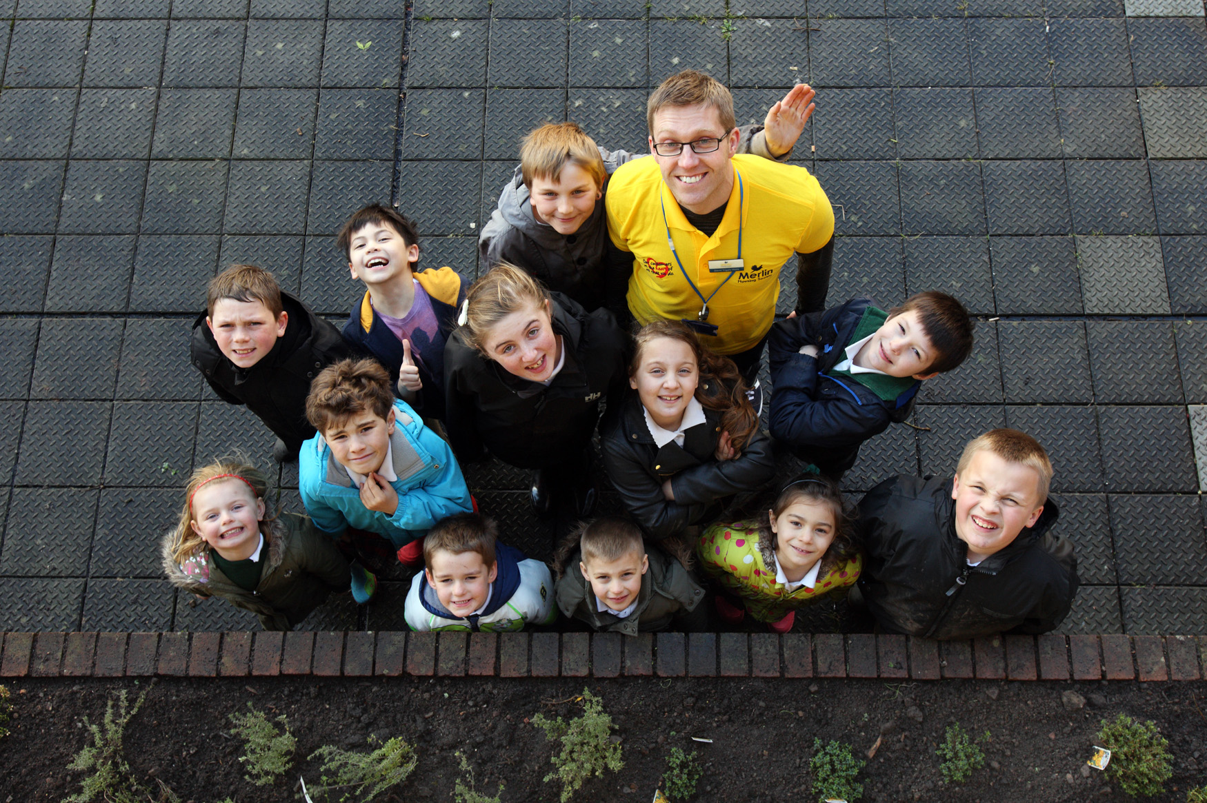 Merlin Housing Society Community Investment Officer David Triggle-Wells with pupils from Staple Hill Primary