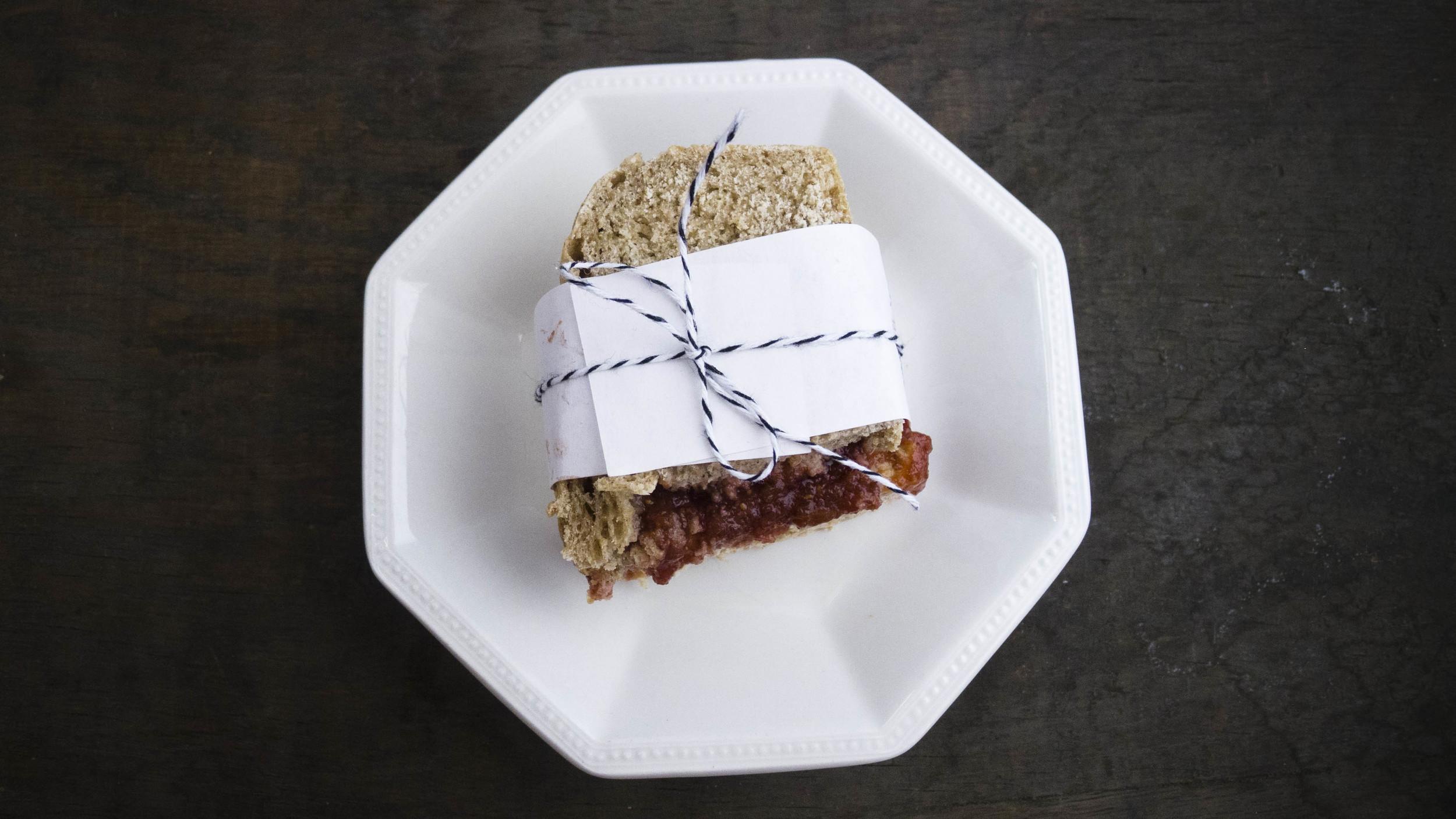 vanilla fig jam and peanut butter sandwich on whole wheat cinnamon bread