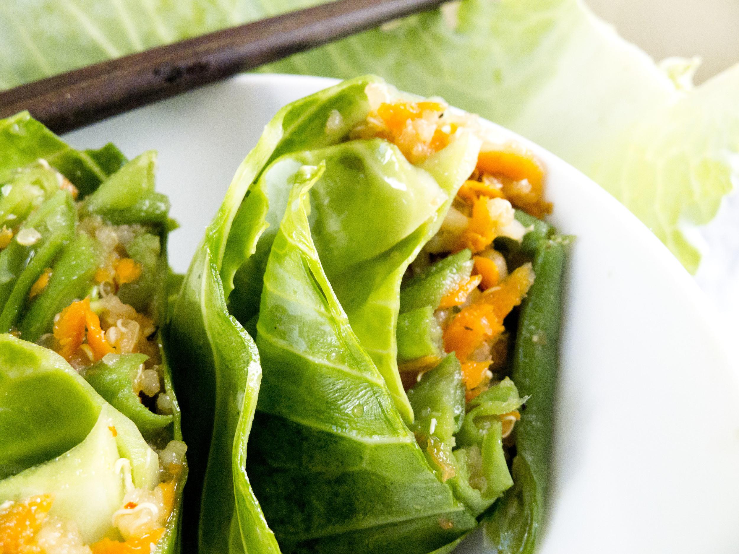 sesame quinoa cabbage rolls