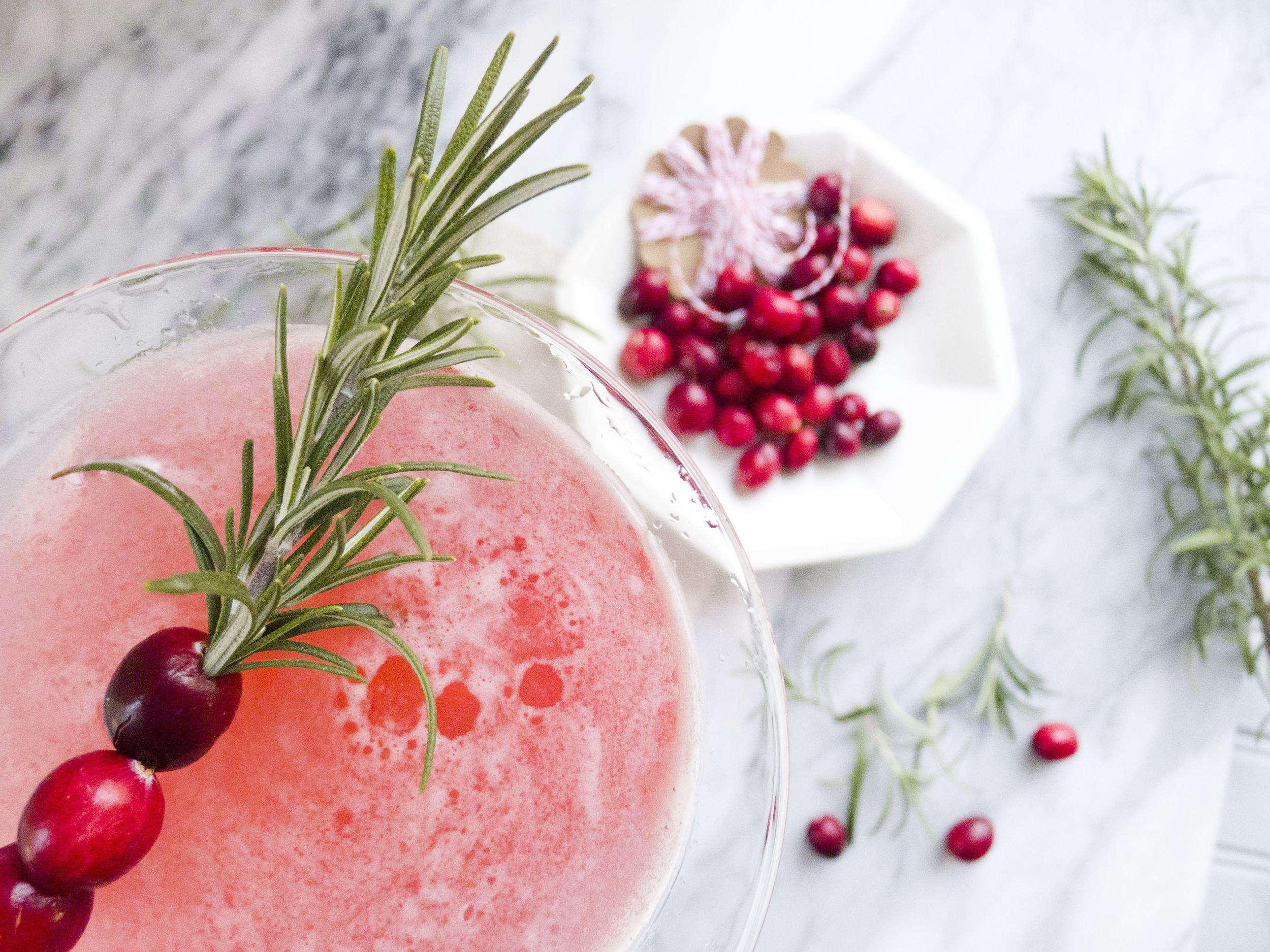 winter cranberry martini with rosemary