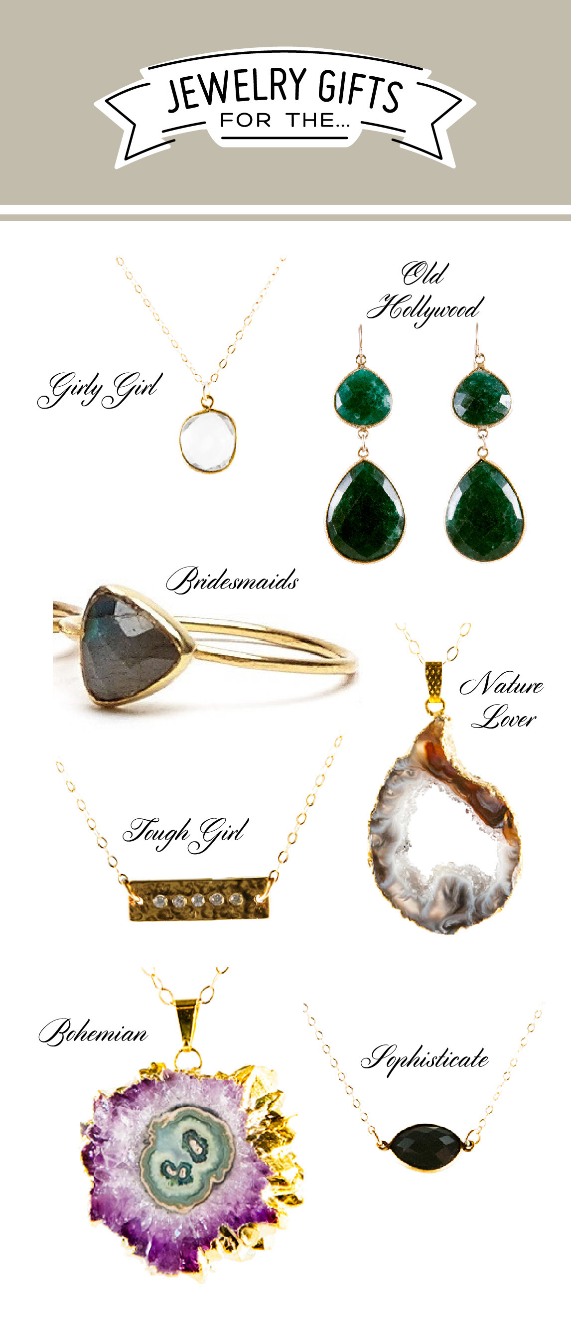 jewelry gift ideas for women, natural mineral jewelry ideas