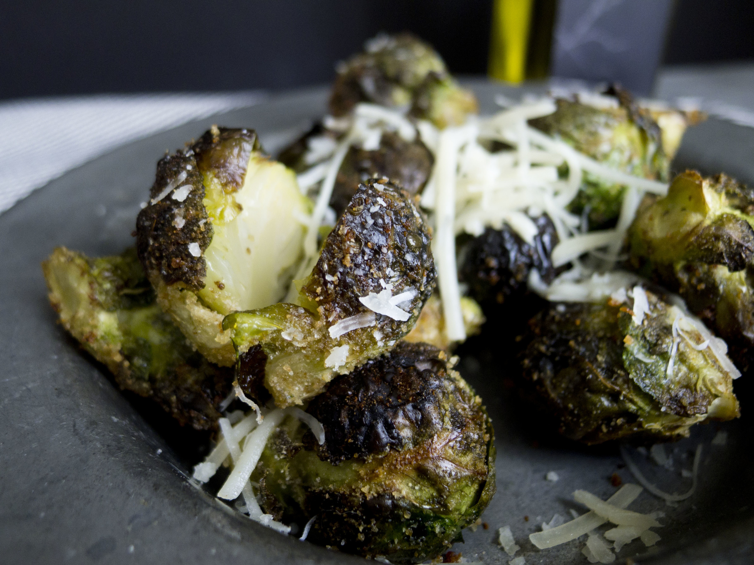 roasted brussels sprouts with cheese and balsamic