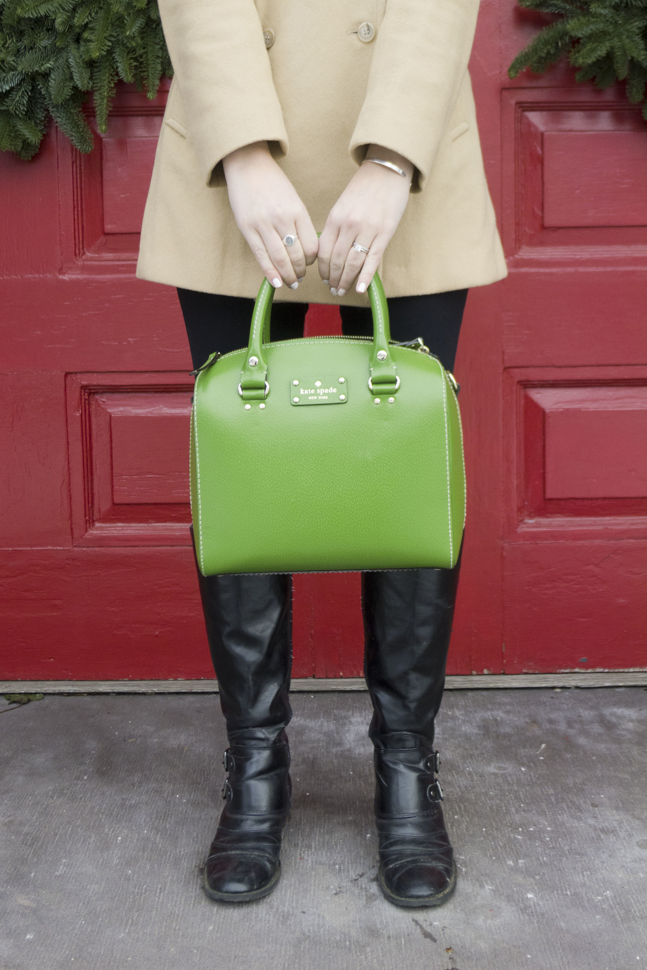 green wellesey kate spade bag, camel coat