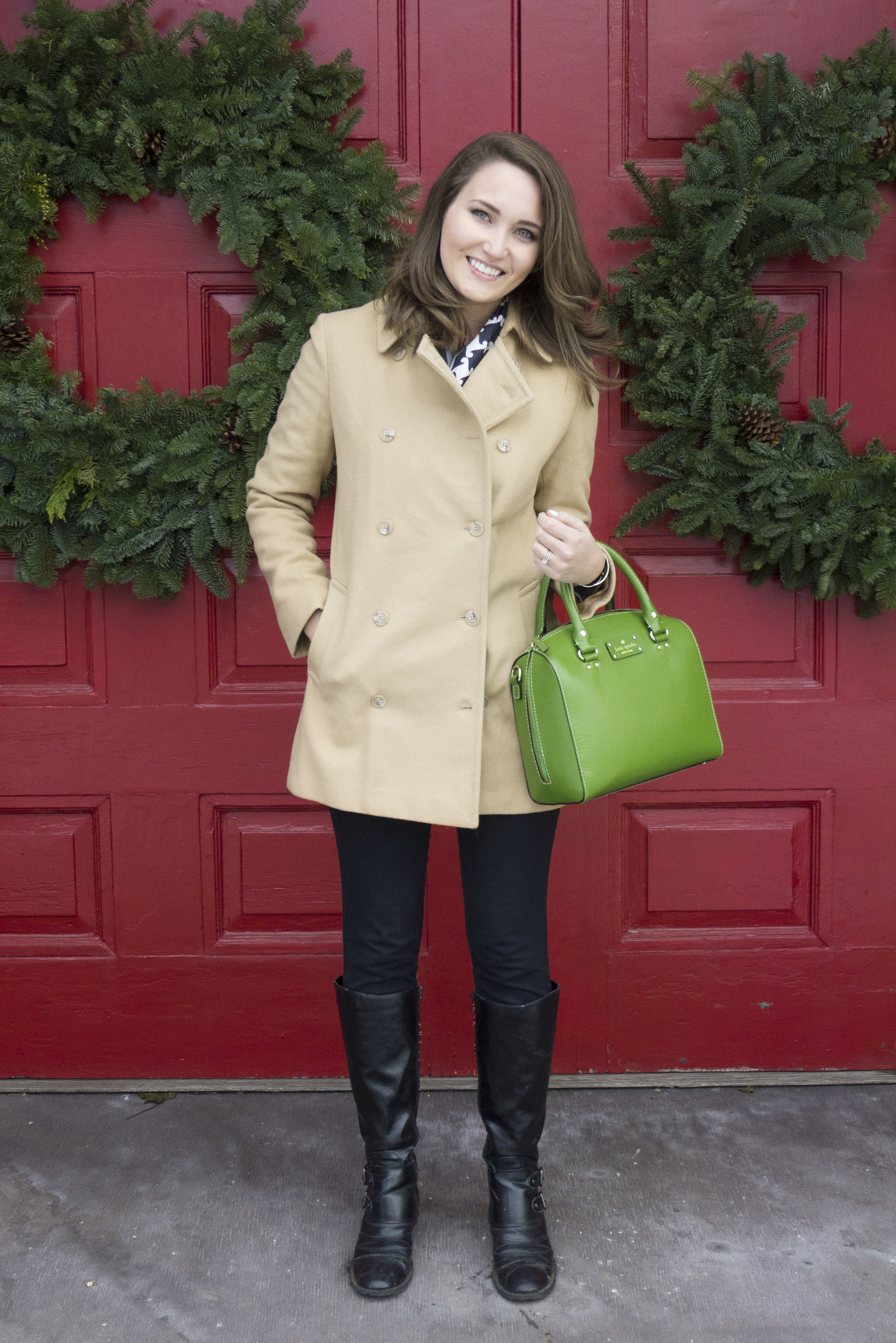 camel colored wool coat, kate spade wellesey