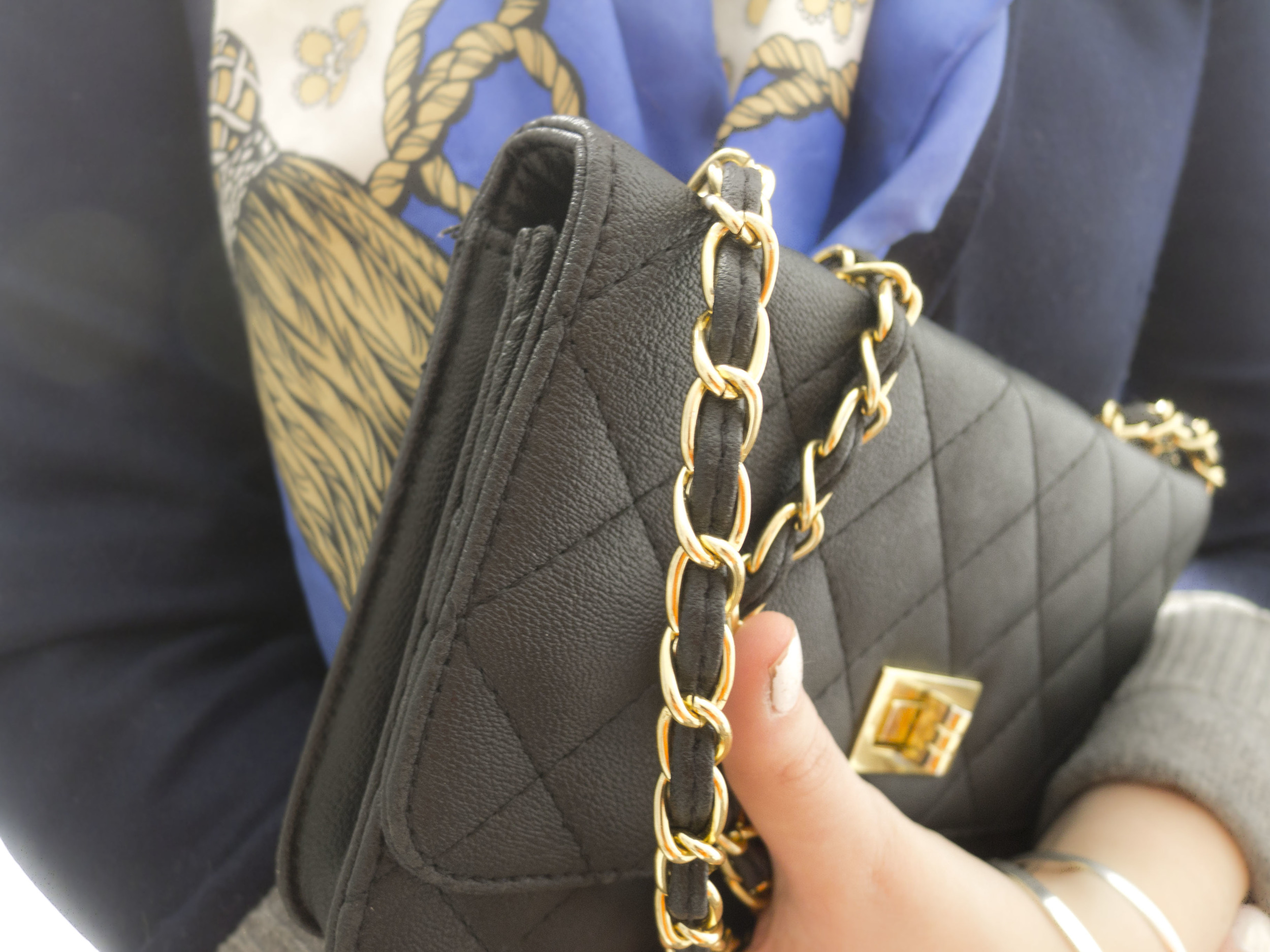 black quilted chain purse