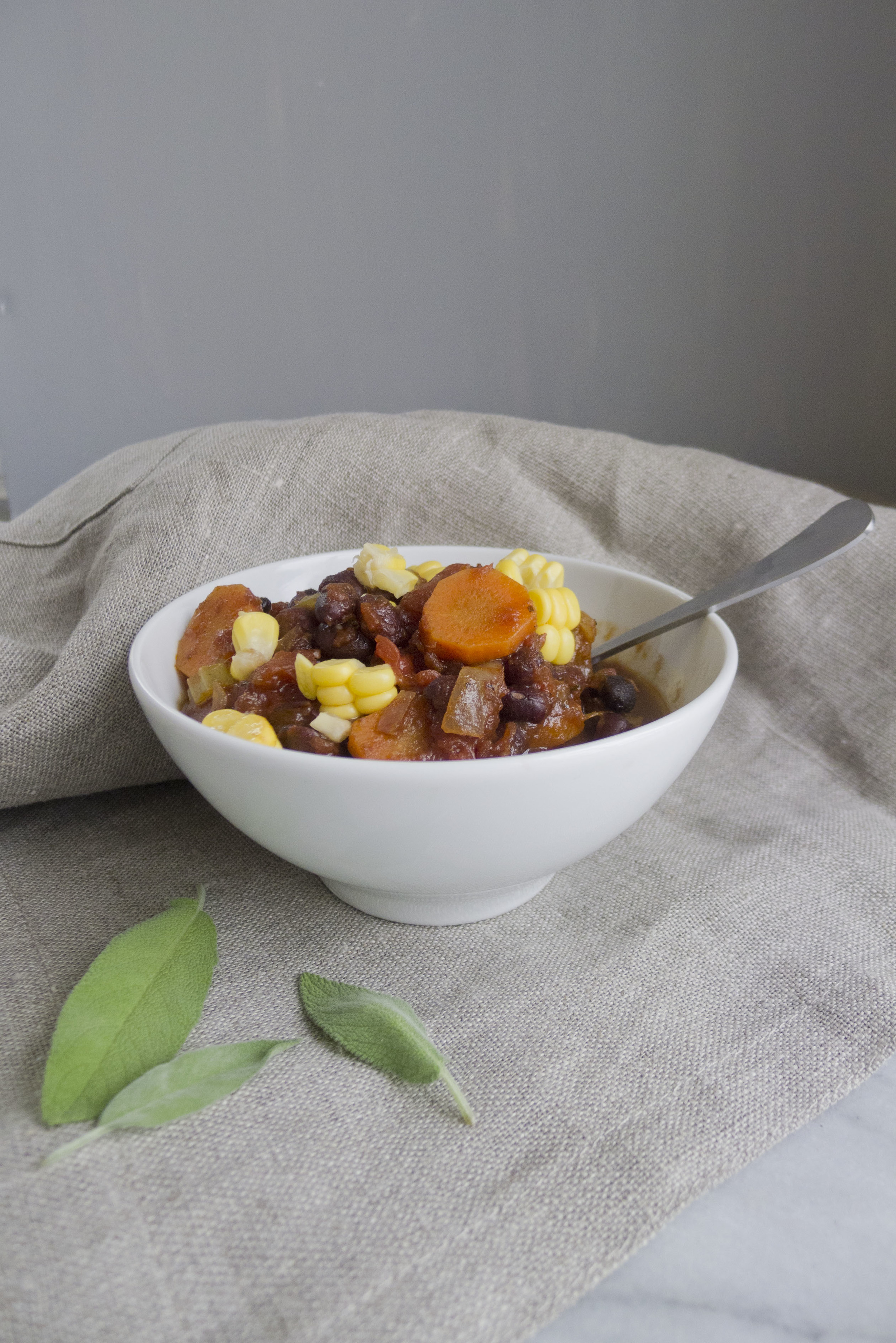 vegan winter black bean chili with fruit based sauce