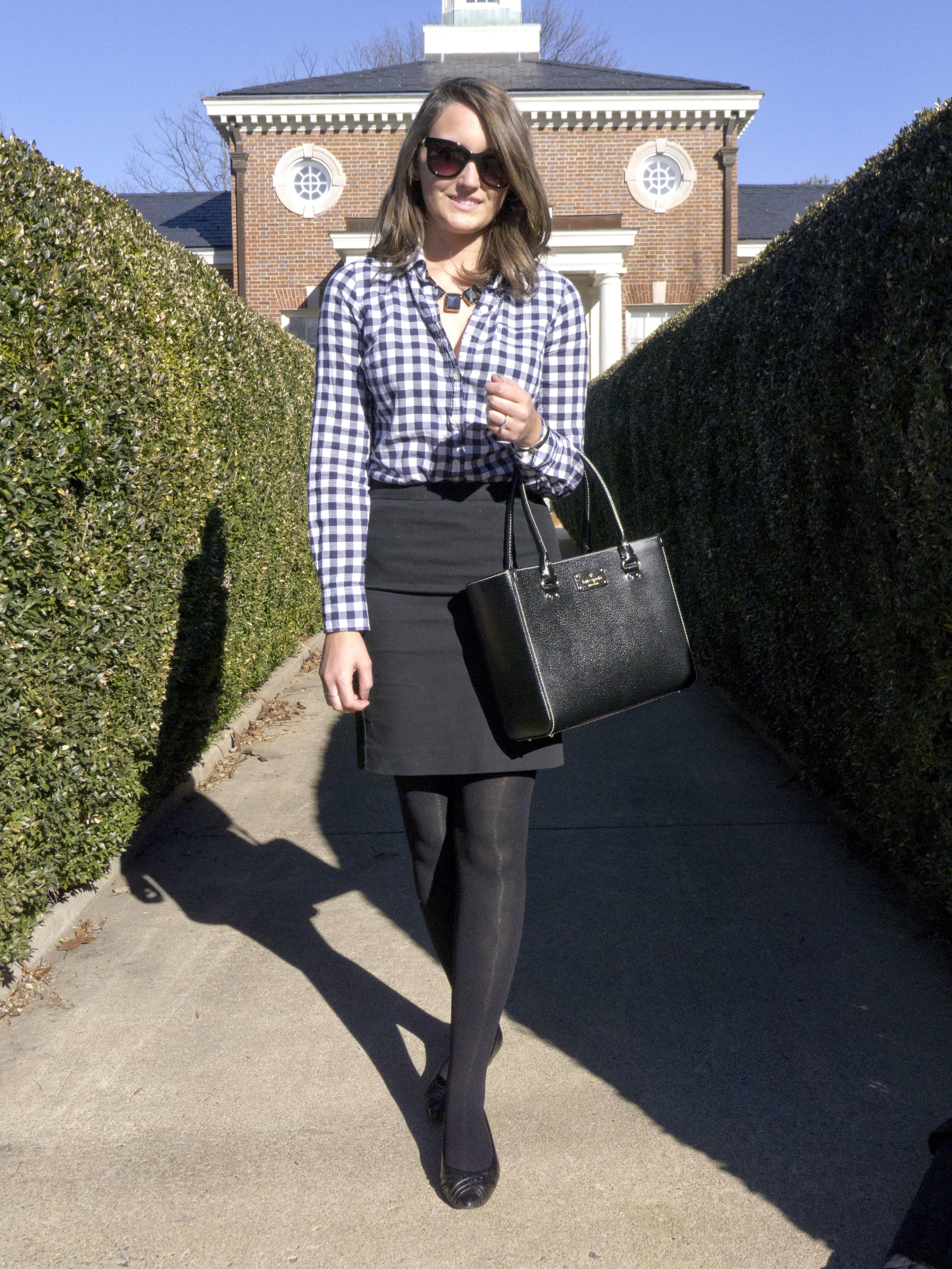 kate spade wellesley quinn handbag, classic pencil skirt gingham outfit