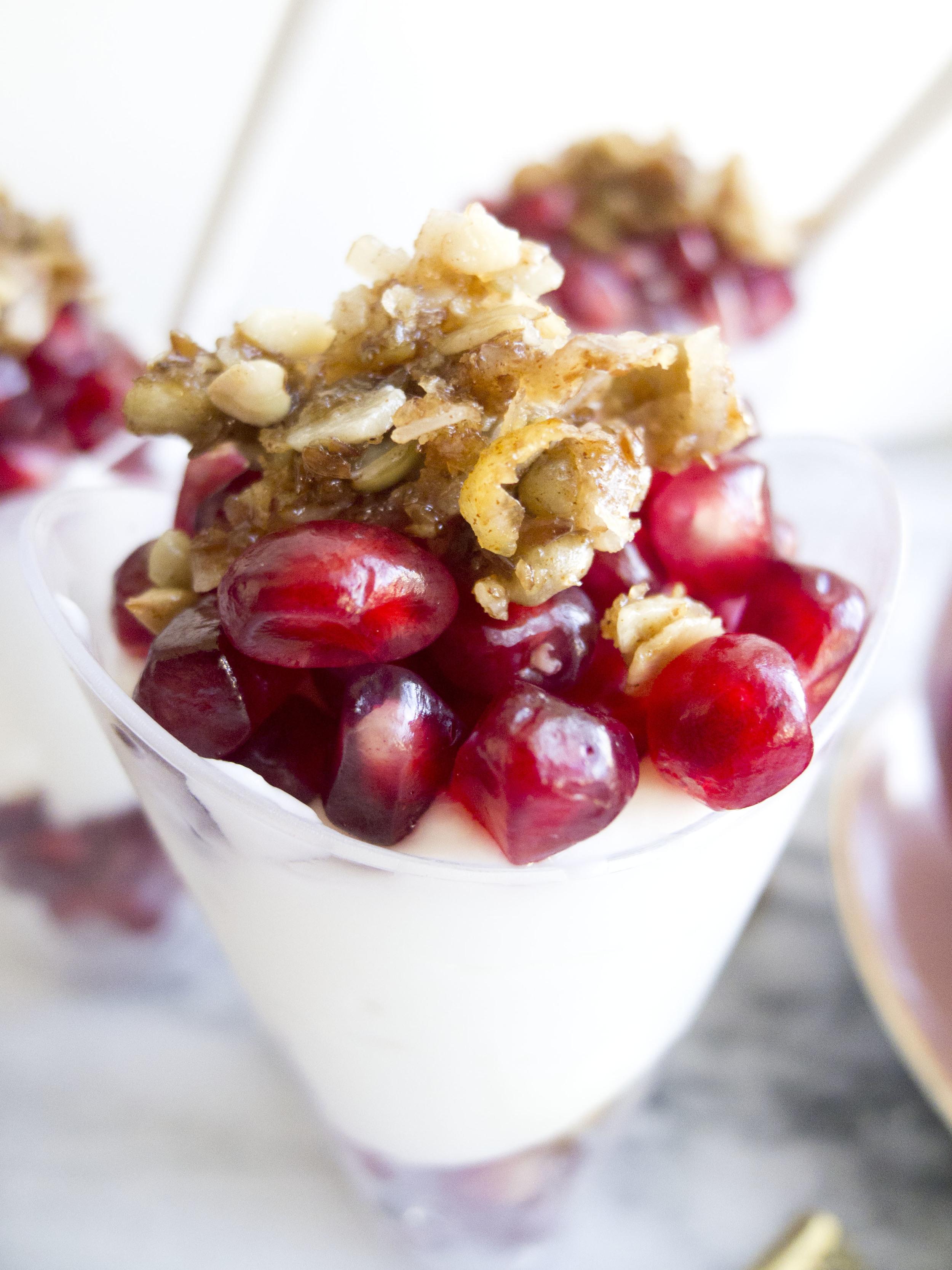 healthy party pomegranate greek yogurt parfaits