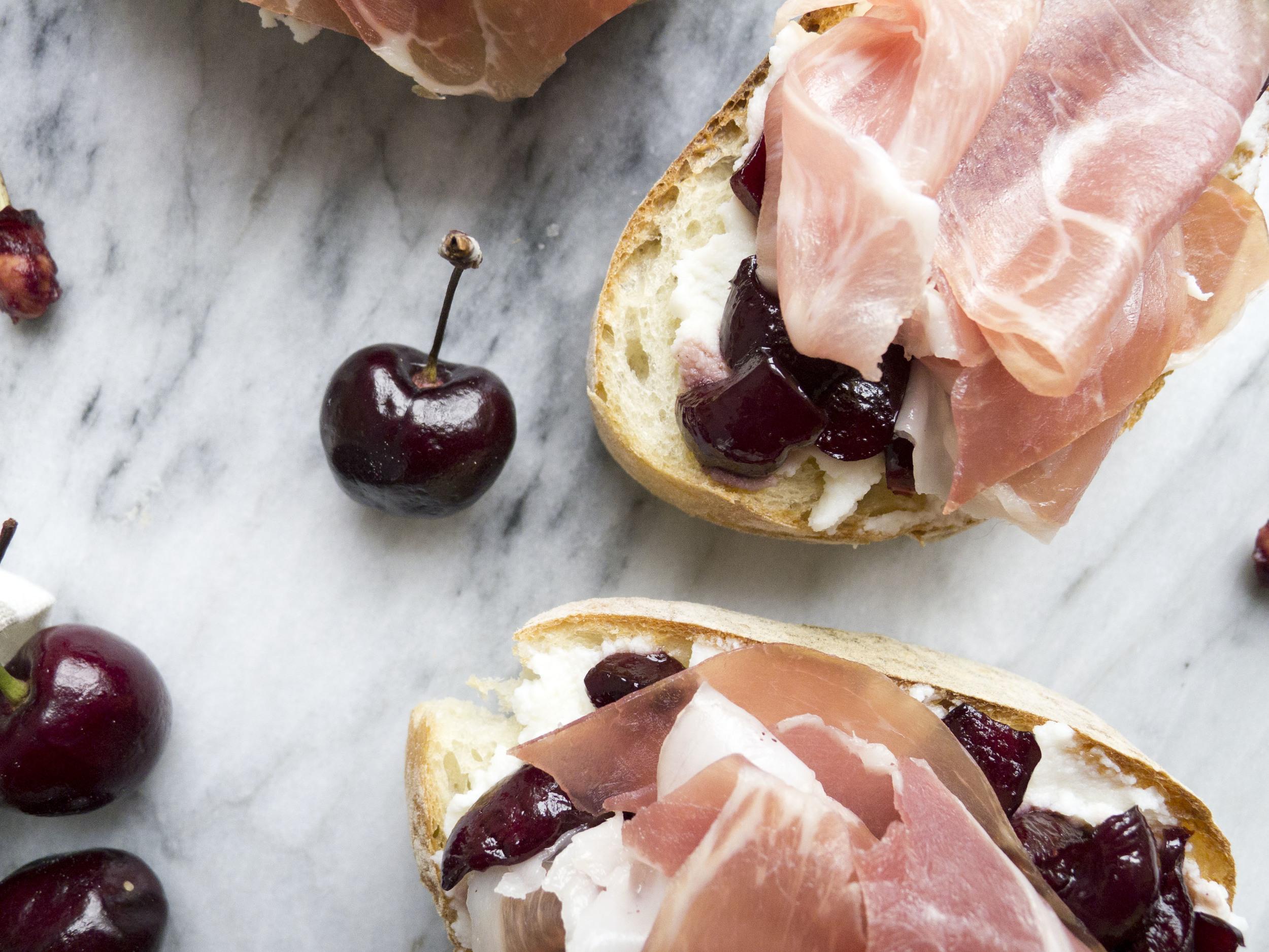 Cherry Sauce and Prosciutto Crostini