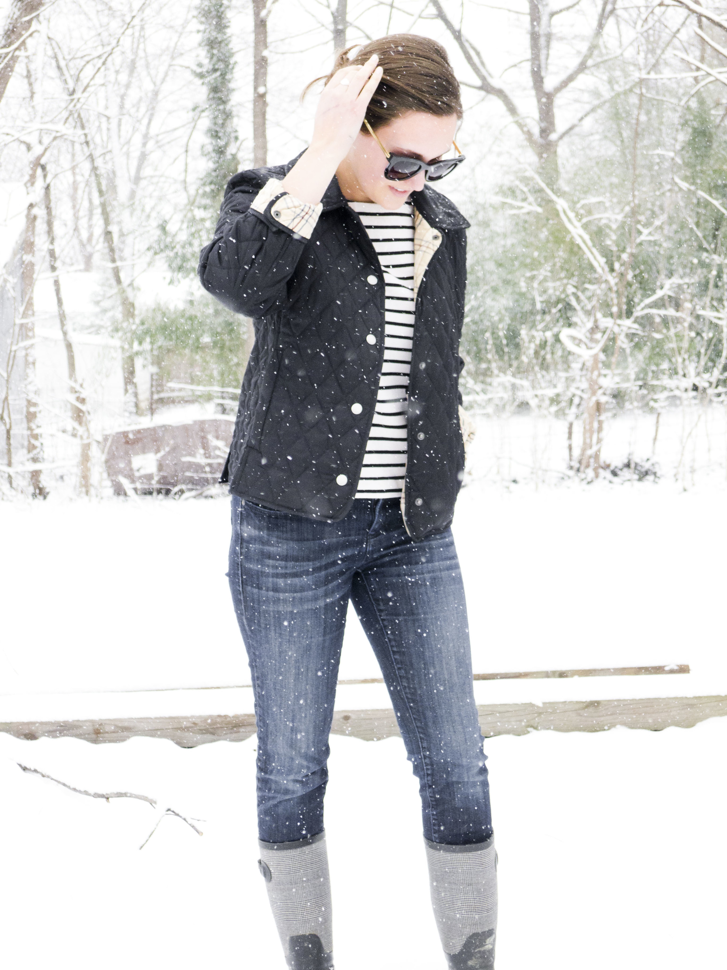 black and white striped shirt, boots, quilted jacket