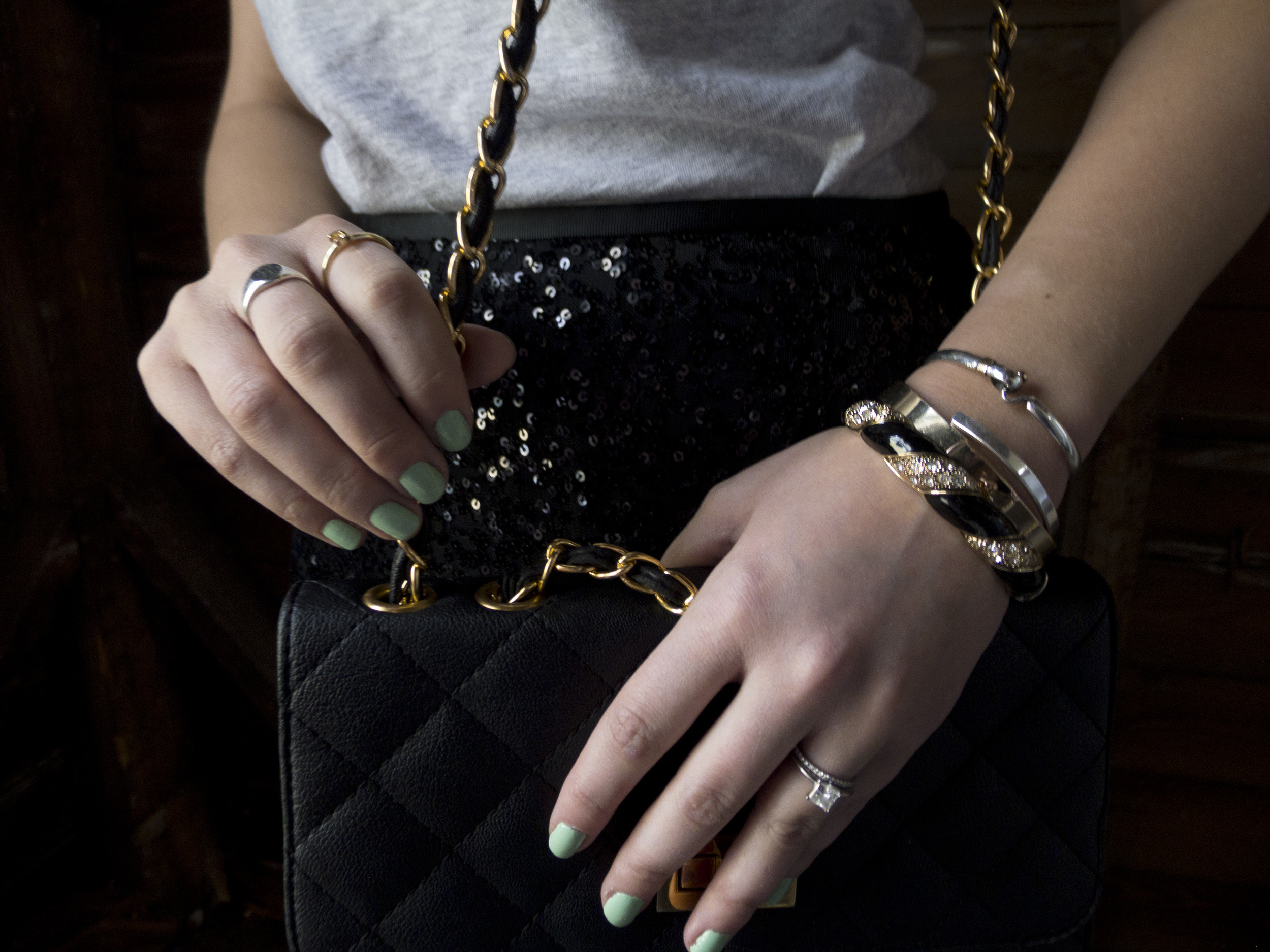 Outfit Post: Black Sequin Skirt and T-Shirt