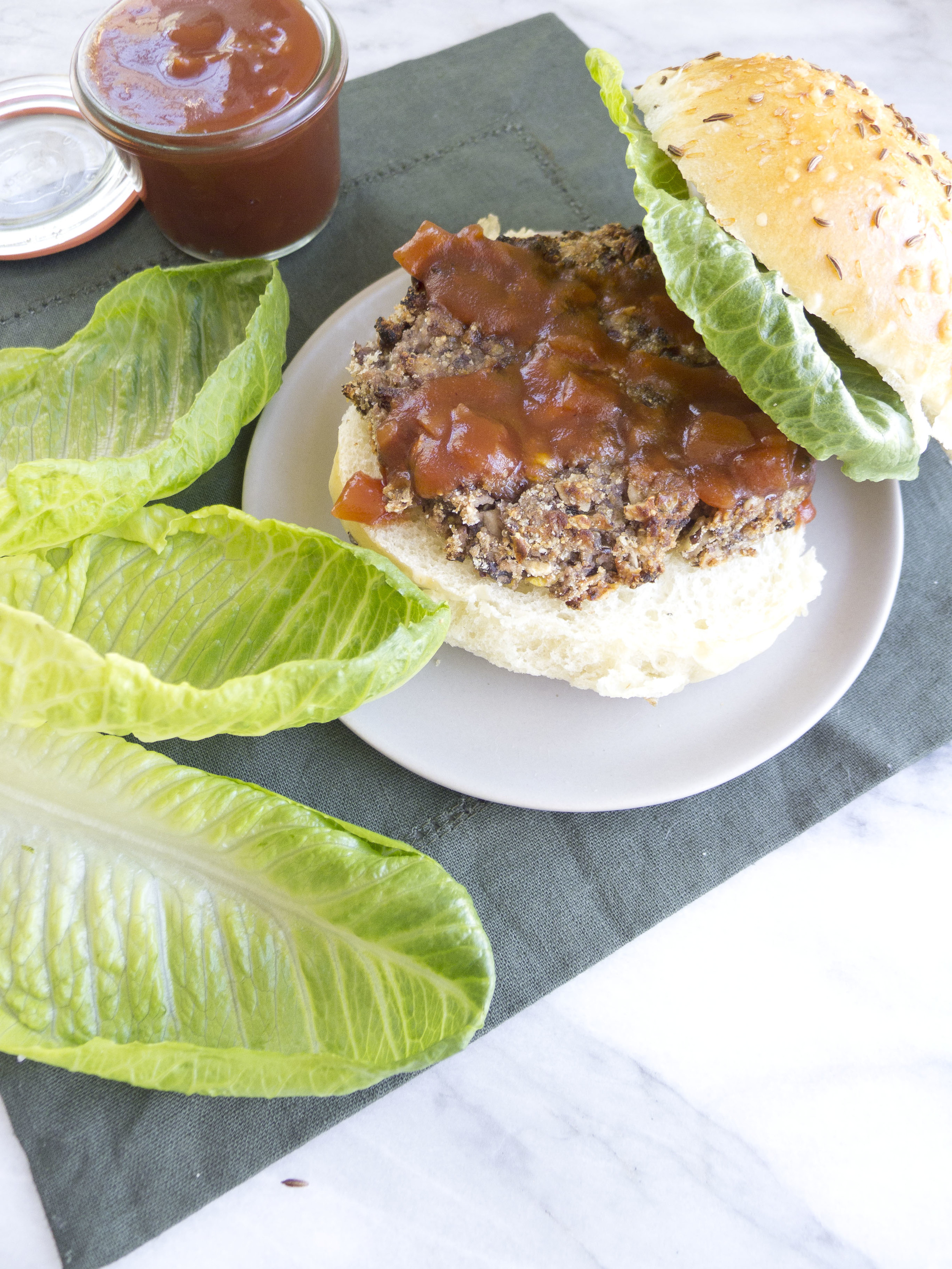Black Bean Amaranth Burger with Cranberry BBQ