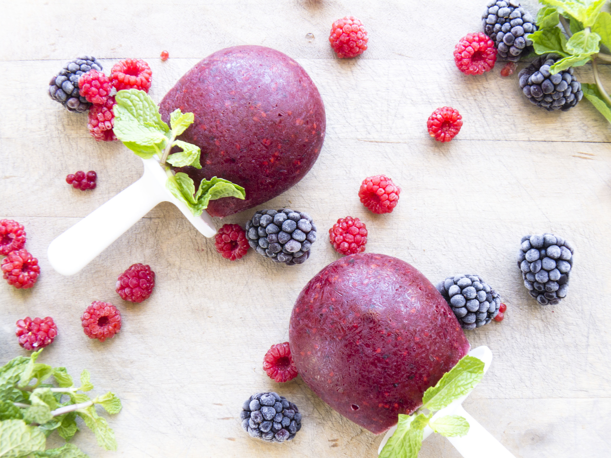 rosewater berry popsicles with mint