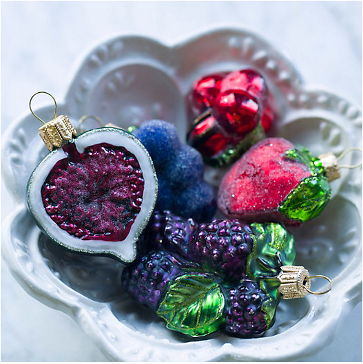Glitter Fruit and Vegetable Christmas Ornaments
