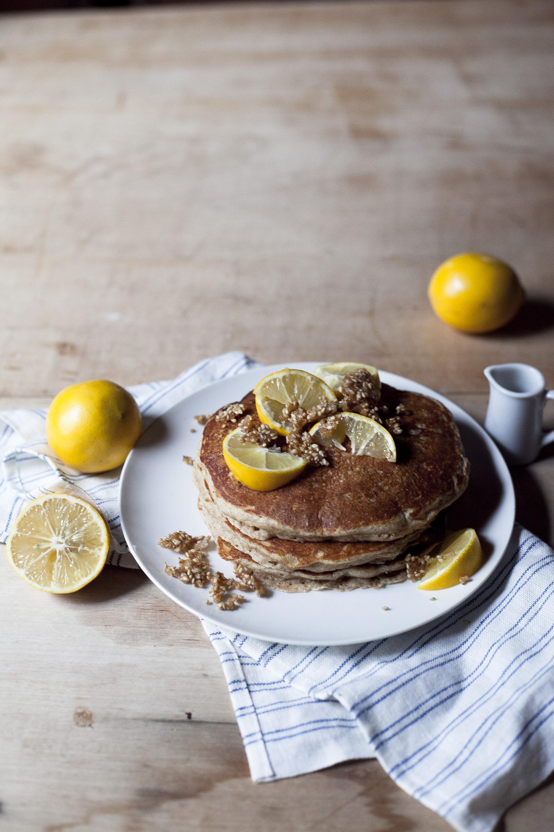 Whole Wheat Meyer Lemon Pancakes with Sesame Brittle