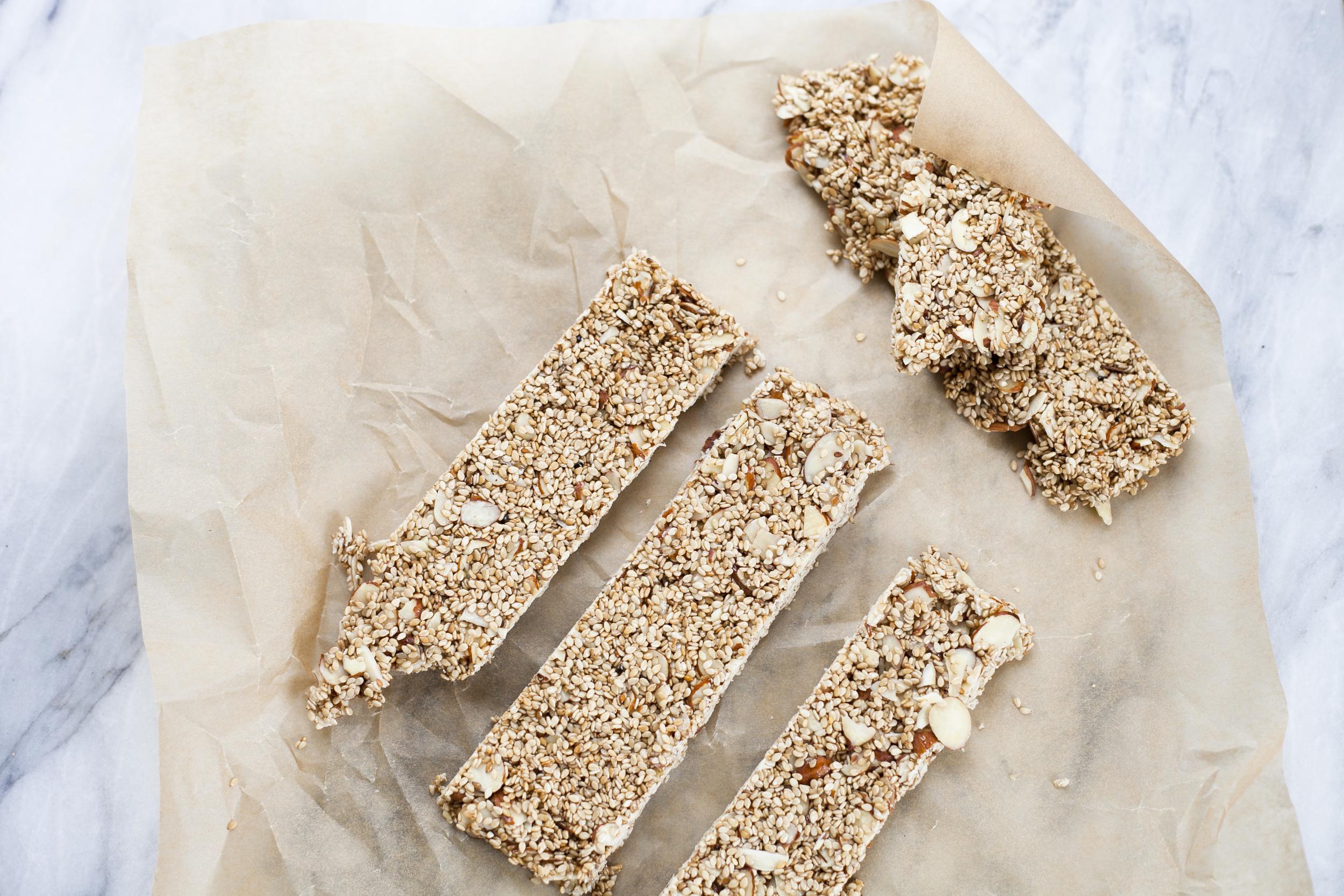 sesame seed bars, healthy