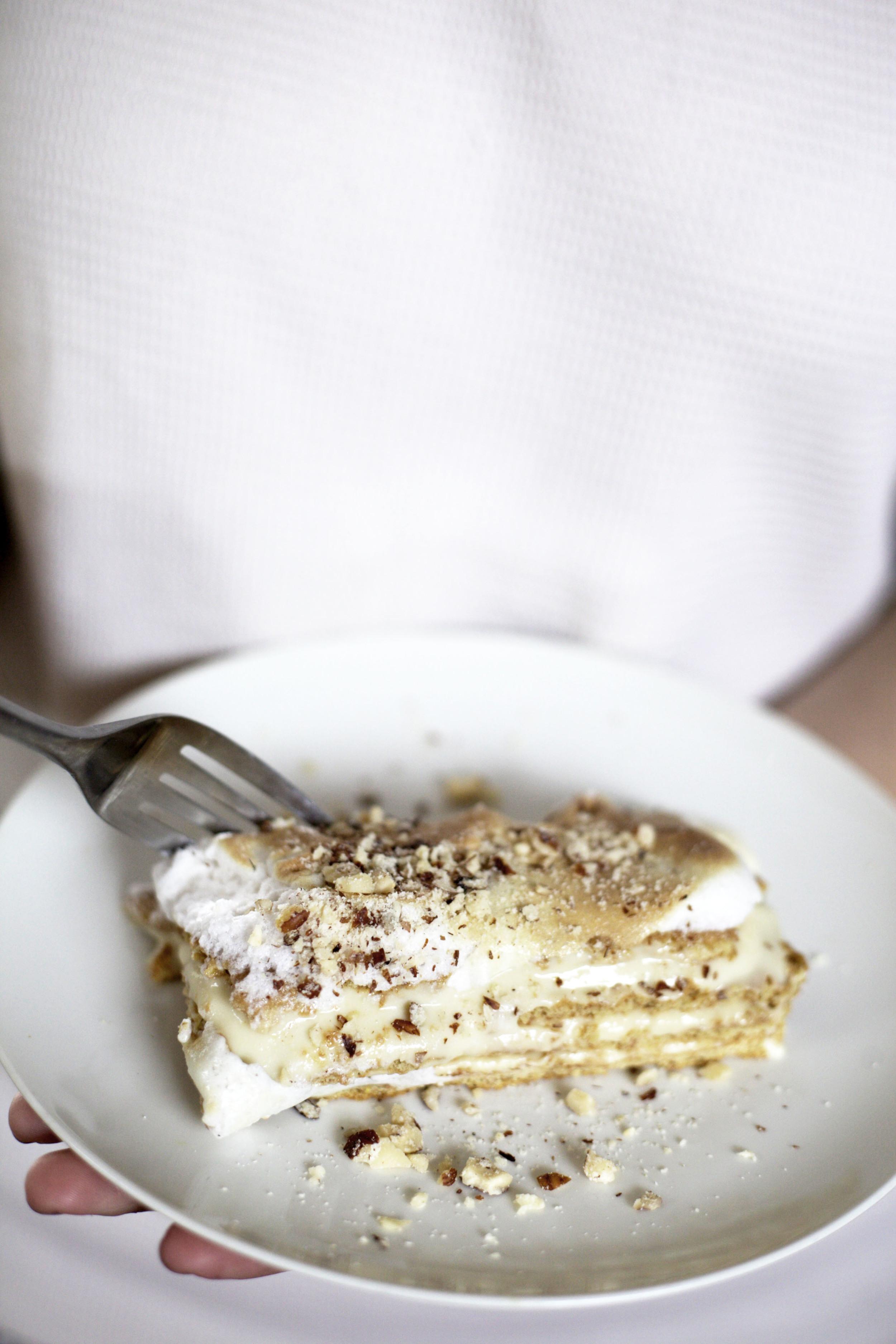Low Sugar London Fog No Bake Layer Cake