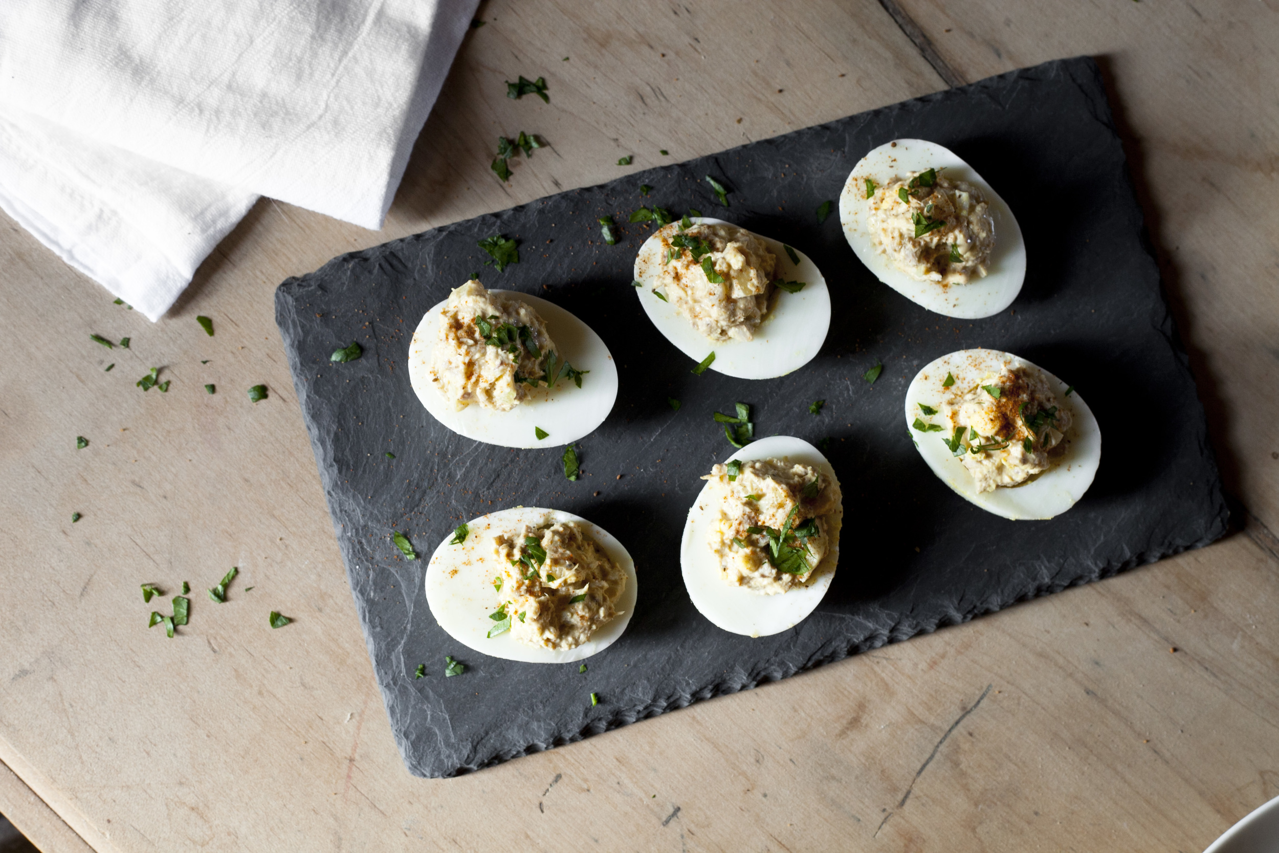 healthy snack and lunch ideas: tuna stuffed deviled eggs - high protein