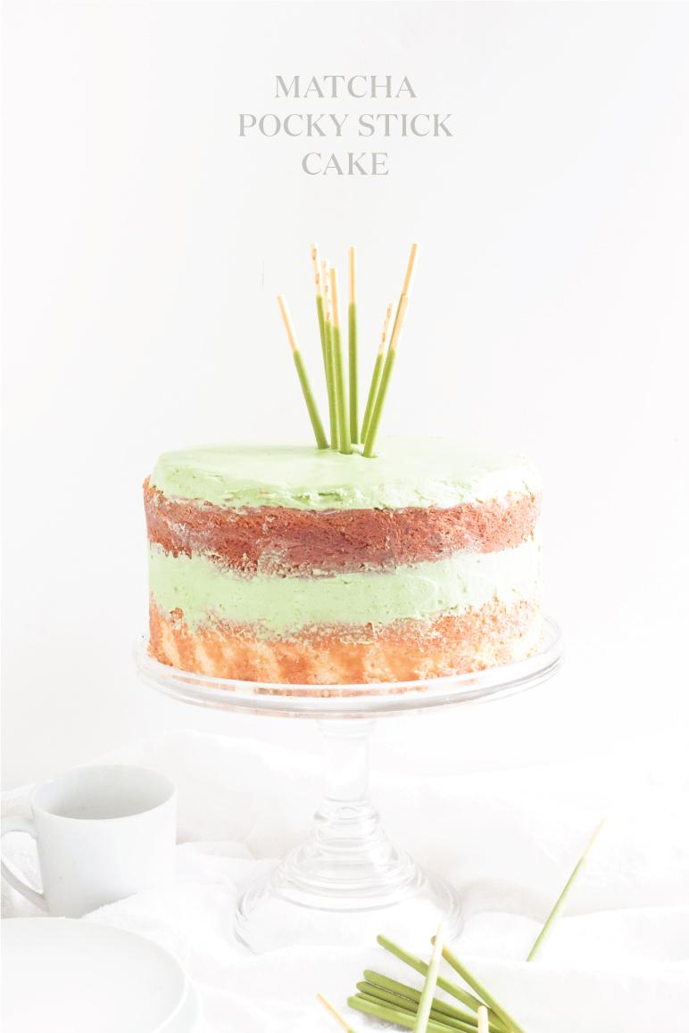 Green Tea Matcha Pocky Stick Cake with Coconut Oil