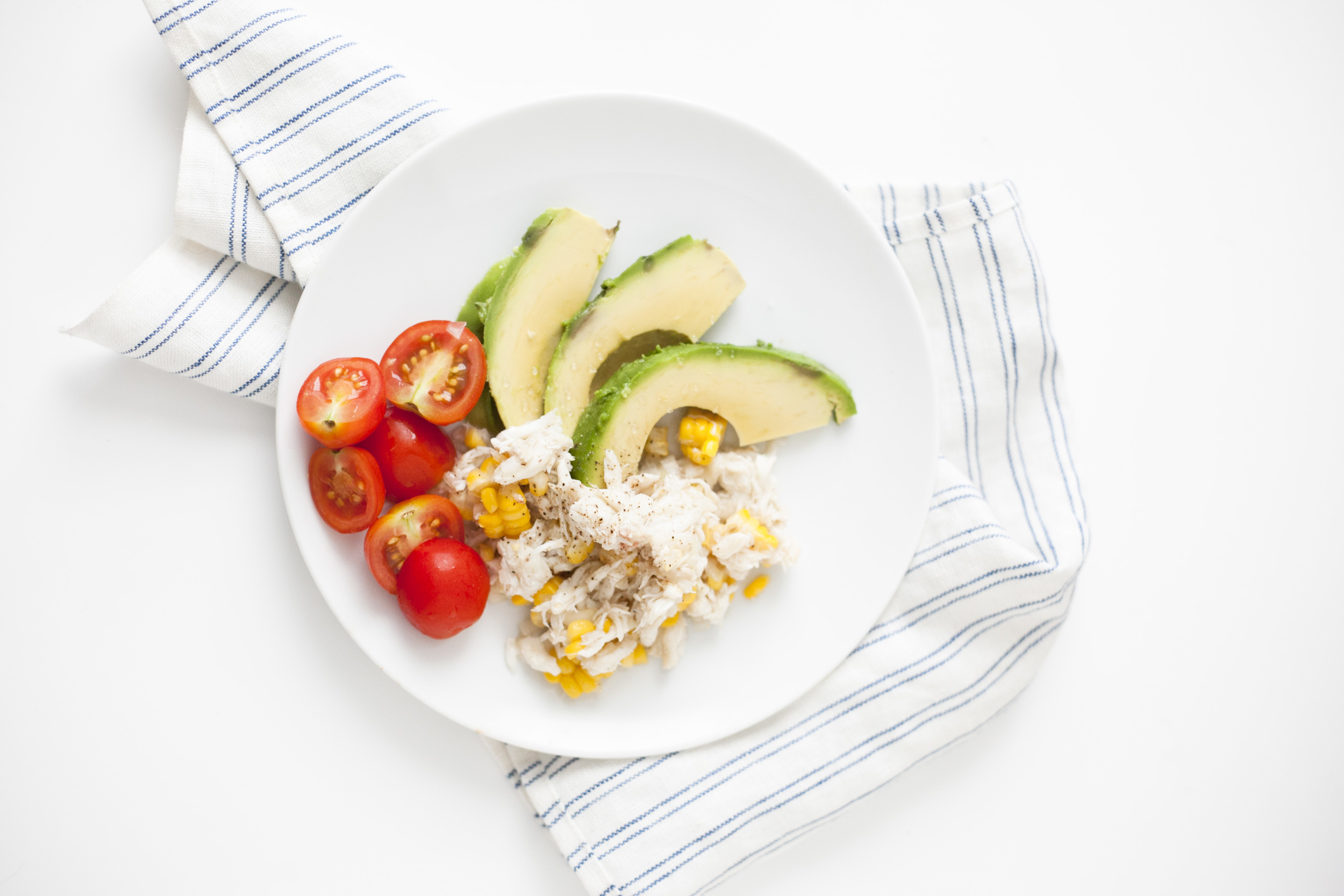 light crab and avocado summer salad