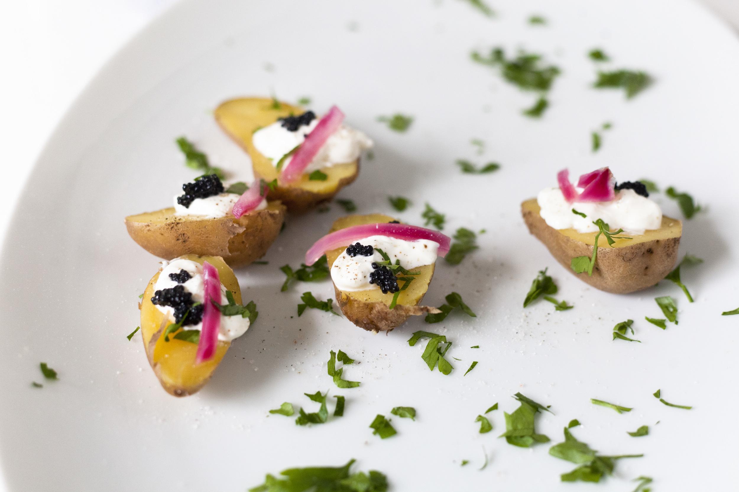 Mini Potato-Caviar Bites Recipe