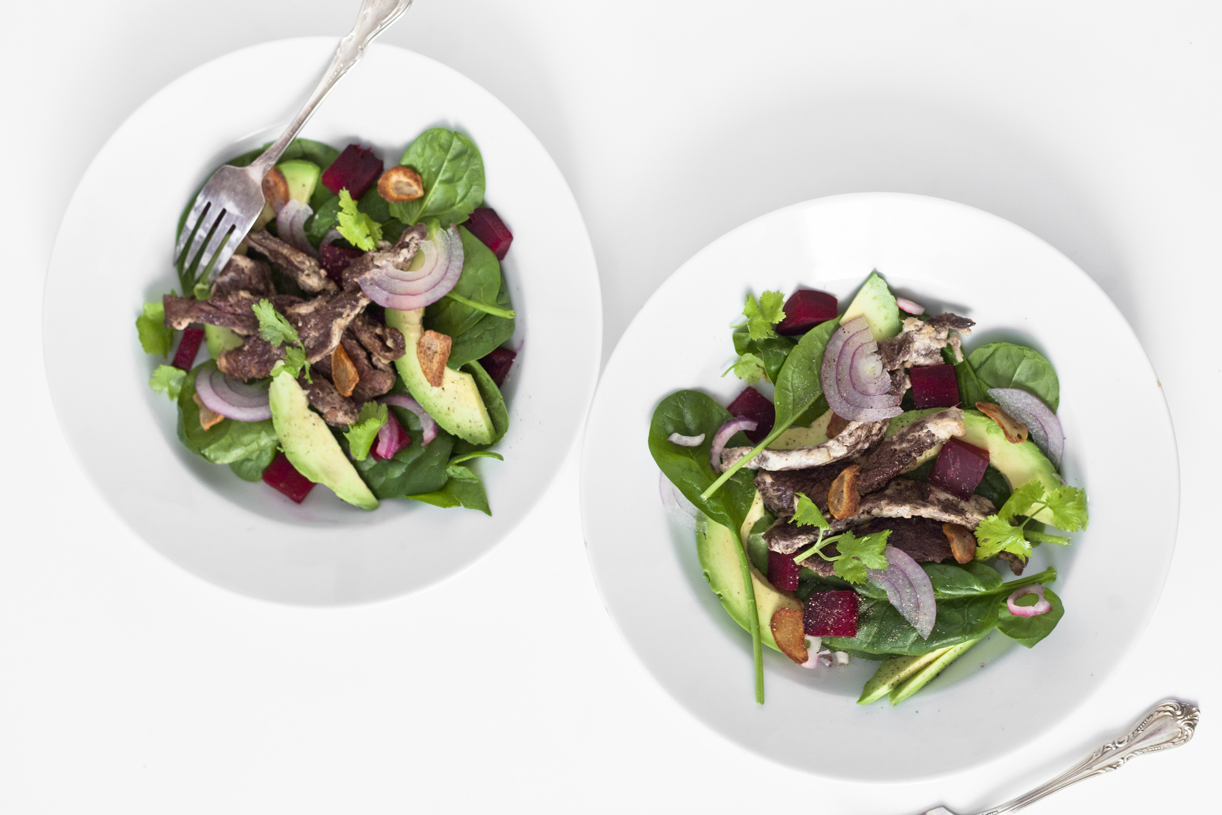 Tender Steak Salad with Avocado and Beets