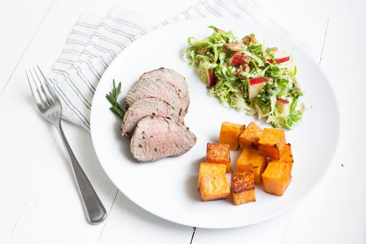Rosemary Porkloin, Roasted Butternut Squash and Brussels Sprout Salad