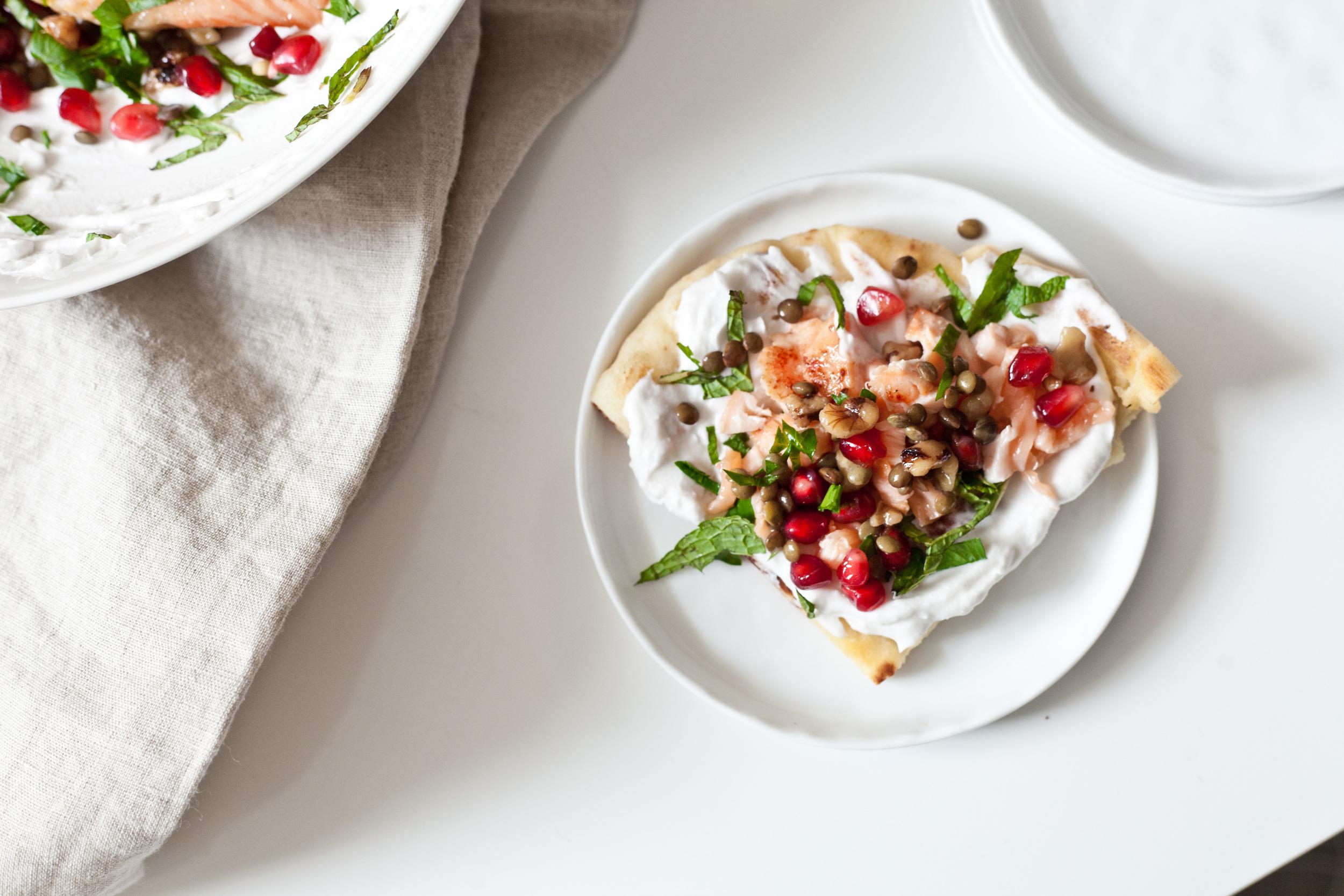 Pomegranate Lentil Salsa and Salmon Flatbread  recipe
