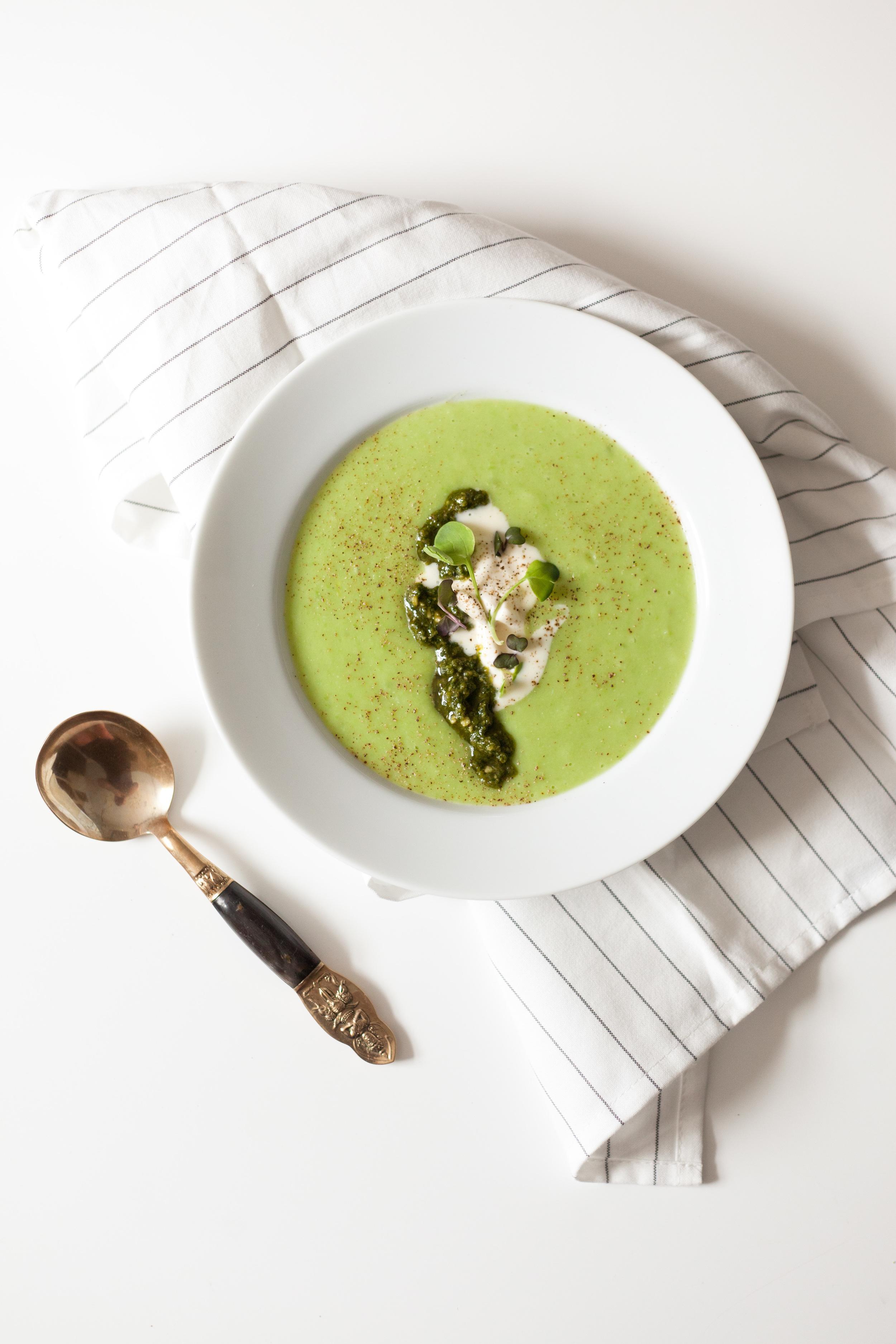 Easy Spring Pea, Potato and Leek Soup
