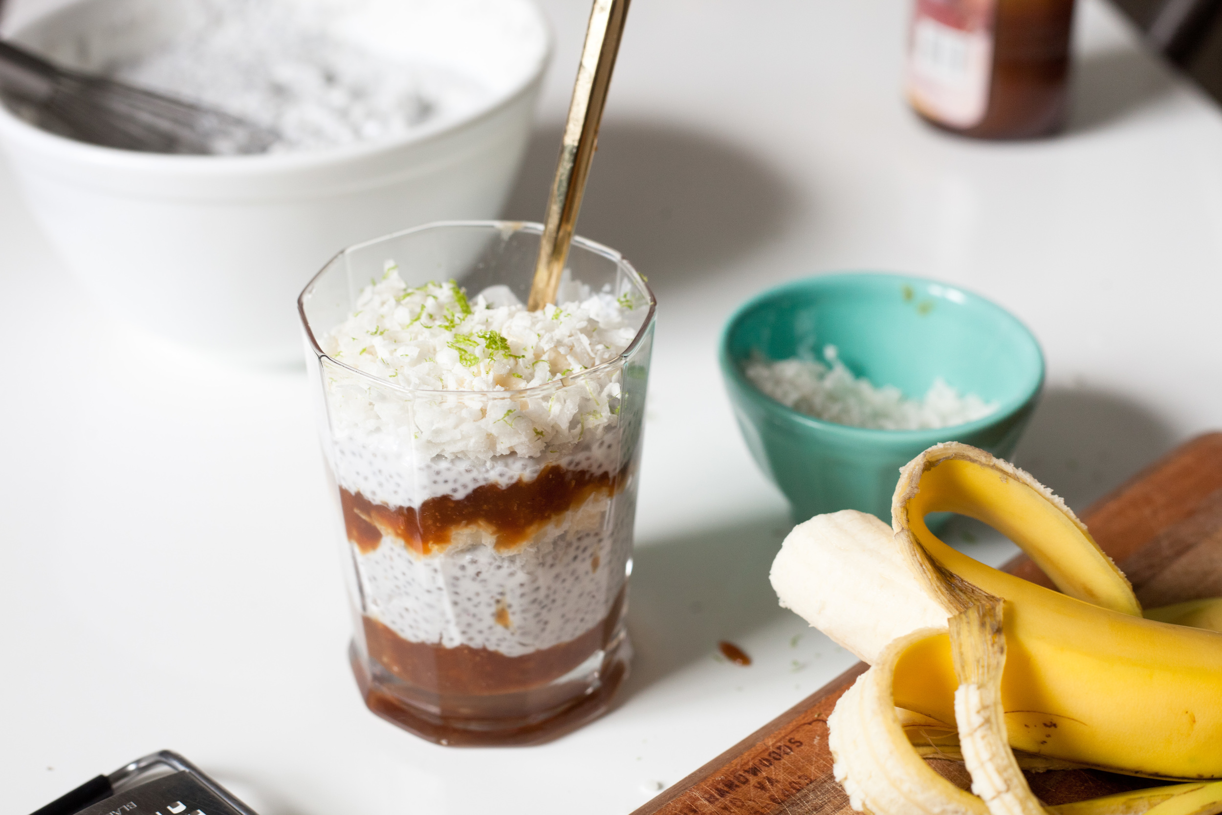 Coconut Chia Pudding with Bananas and Lime Zest