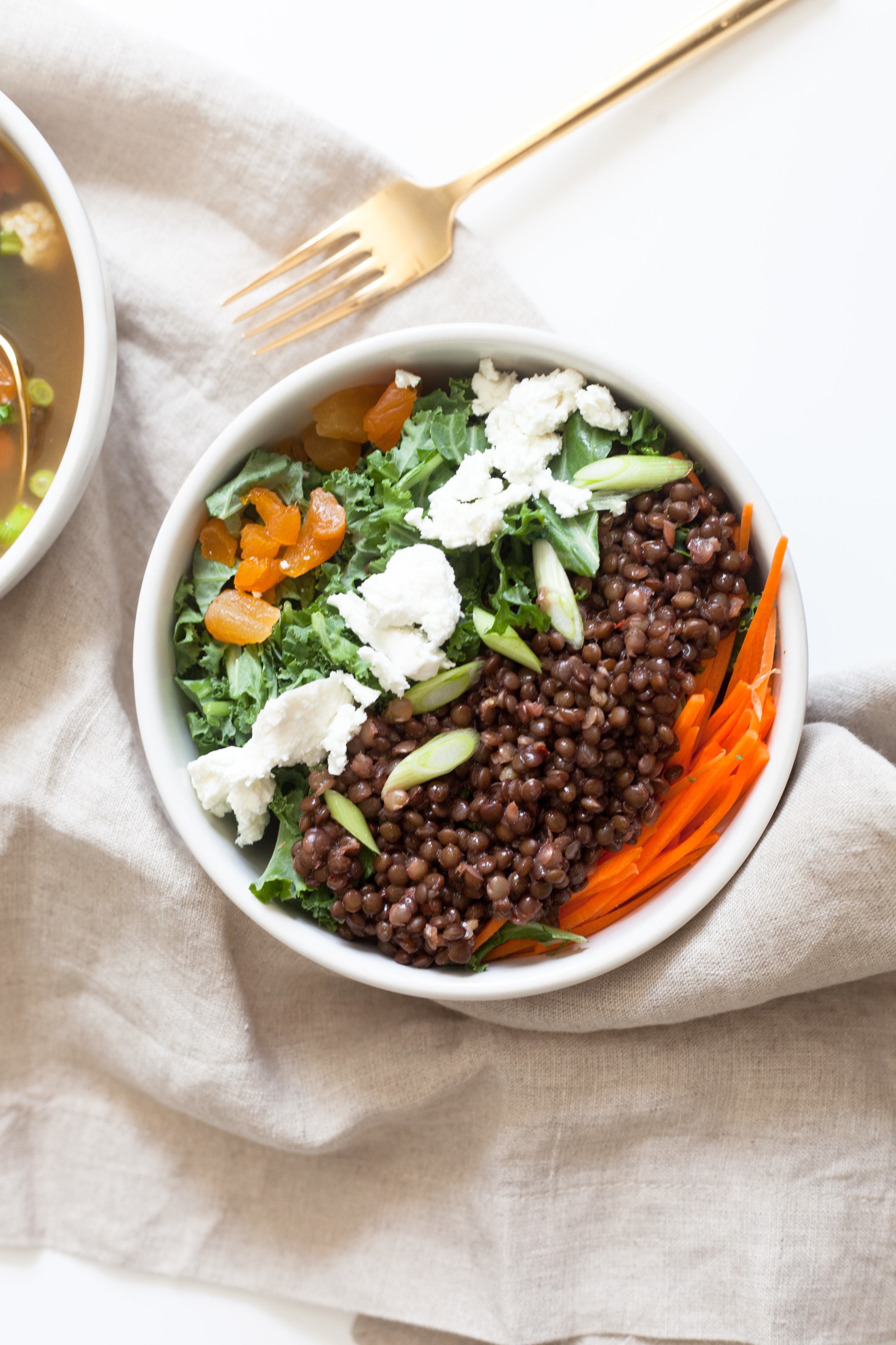 Lentil and Kale Soup to Salad: Same Ingredients Two Dishes