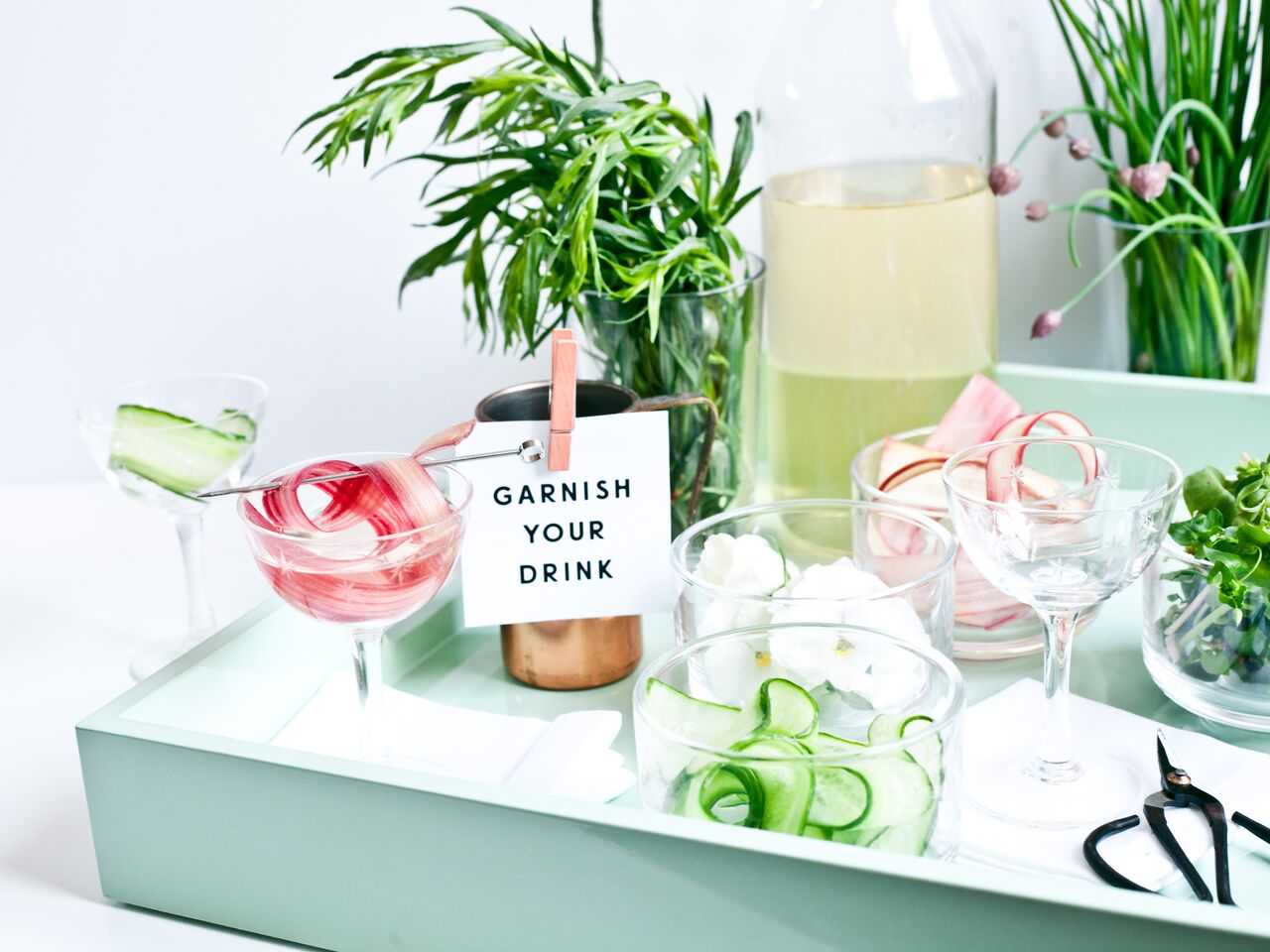 garden garnishes for drinks- Food Network Feature: How to Style Your Summer Drinks