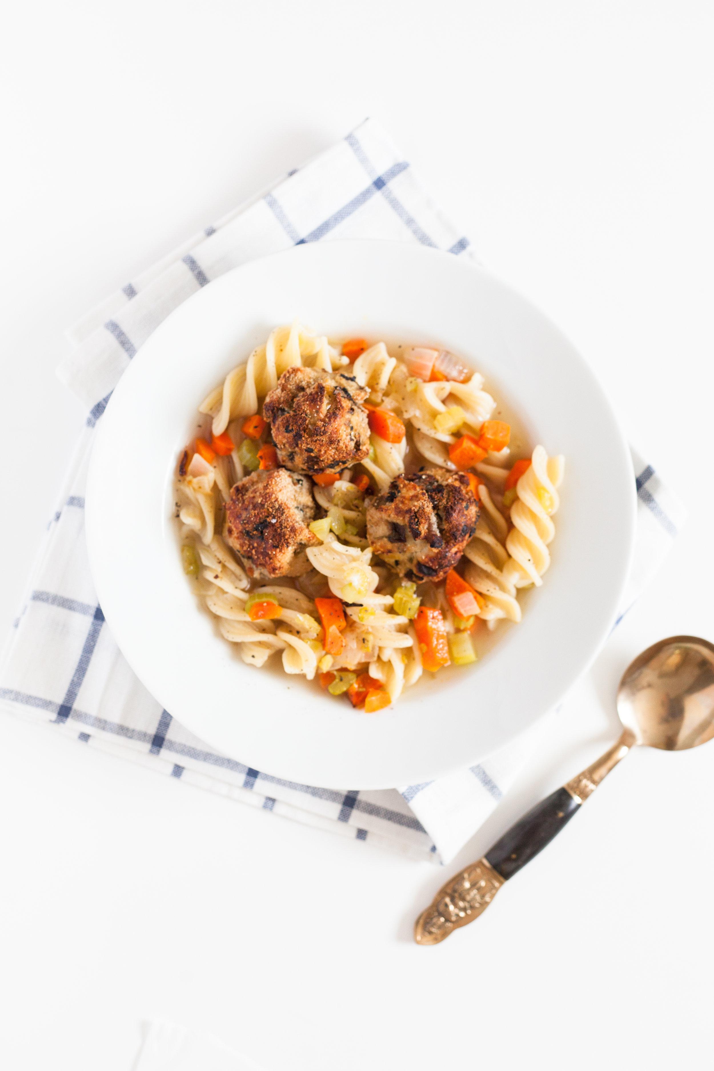 Hatch Chili Turkey Meatball Noodle Soup