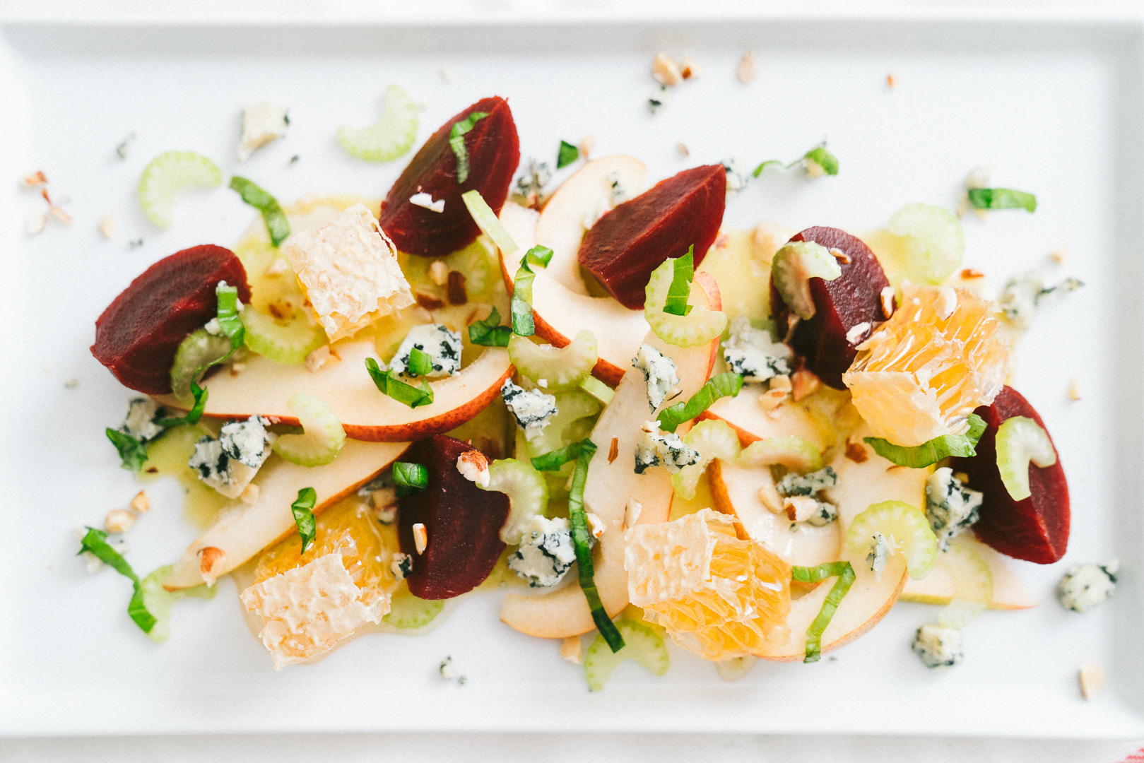 winter salad with pear and honeycomb