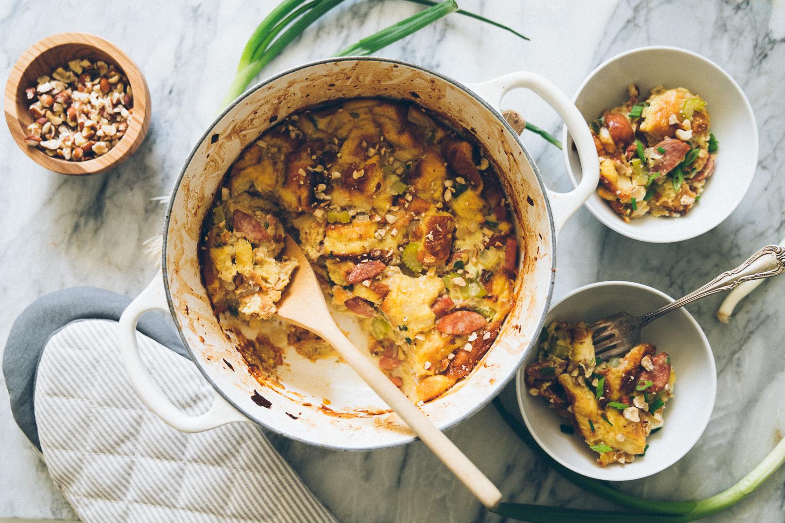 Savory Potato Roll Bread Pudding