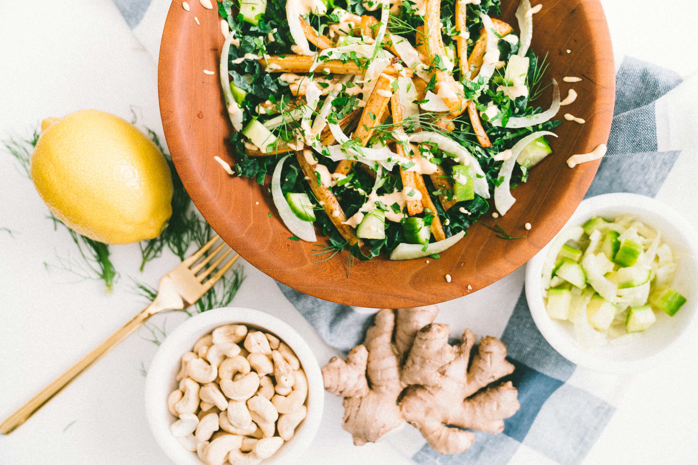 Parsnip French Fry Kale Salad with Turmeric Cashew Dressing