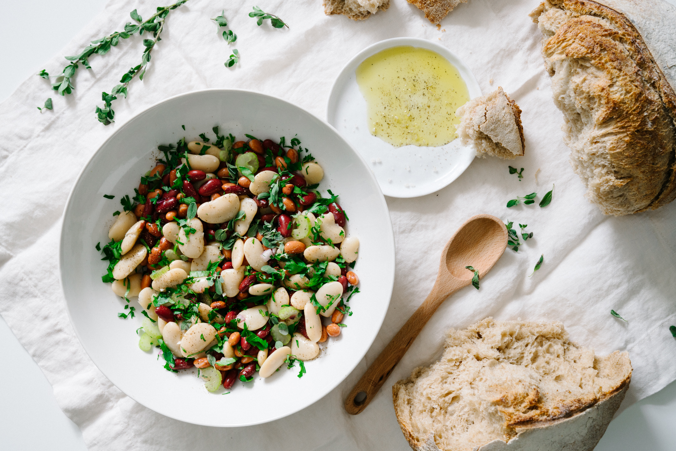 Winter Bean Salad with Herb Lemon Dressing