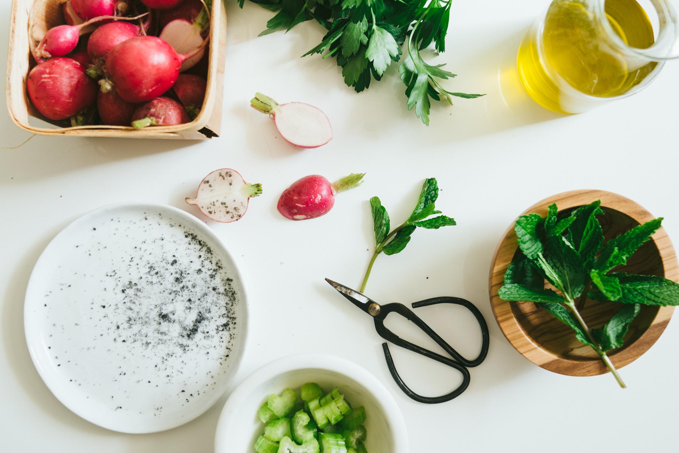 Radish and Rye Burrata Salad