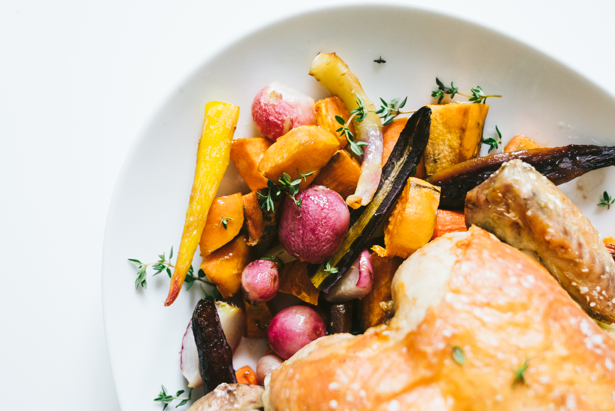 oven roasted whole chicken with root vegetables