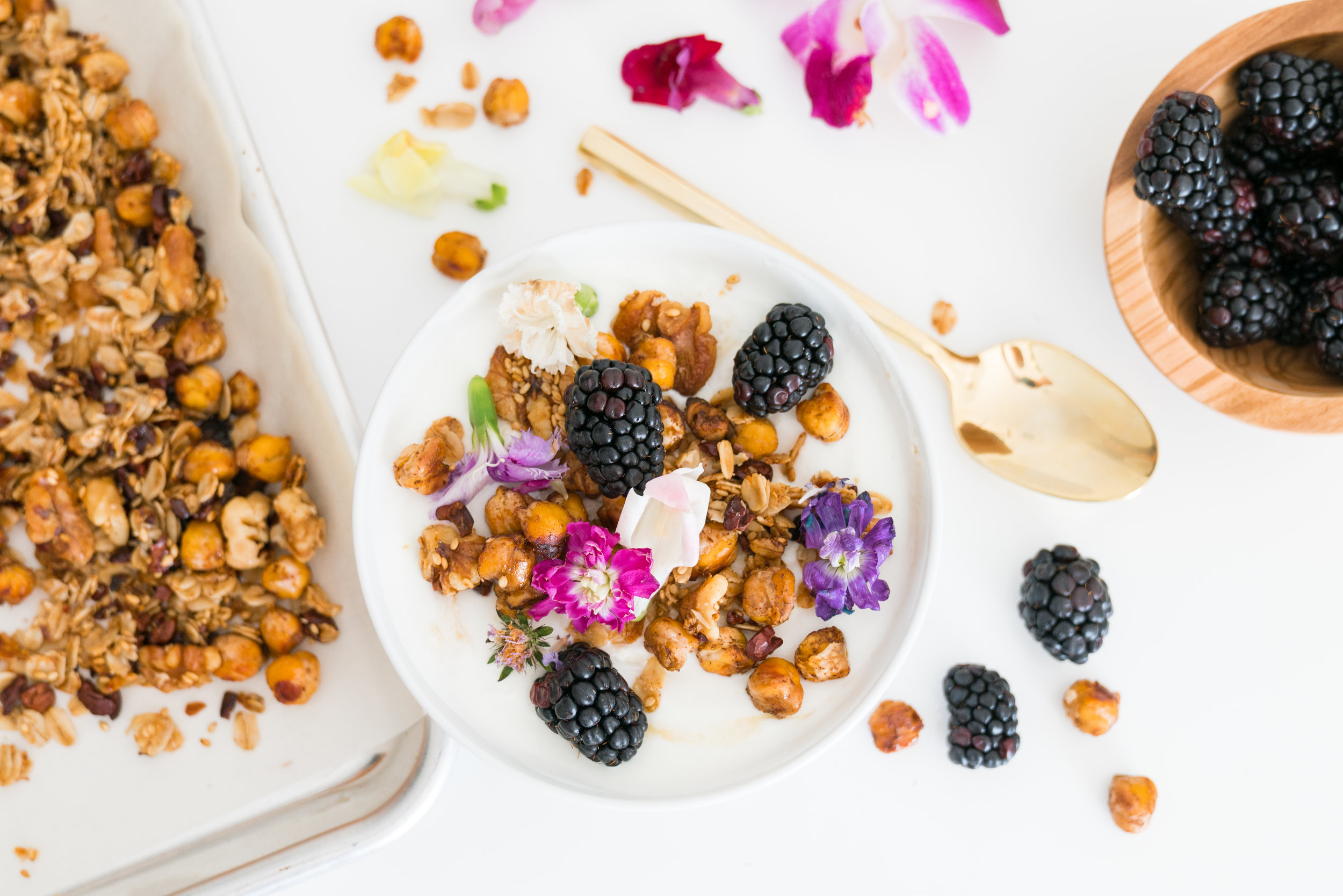 chickpea granola tahini yogurt bowl