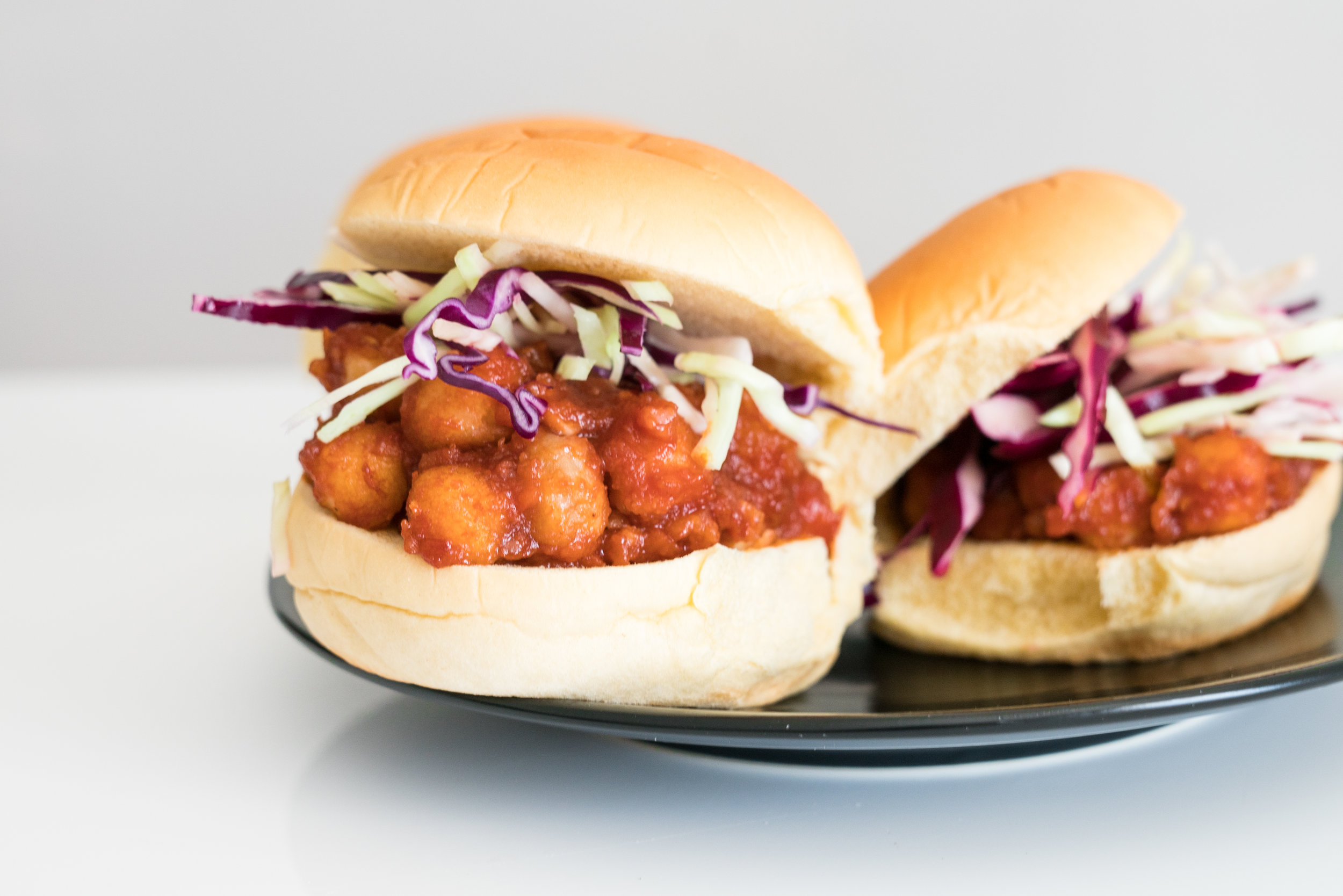 BBQ chickpea sandwich with coleslaw