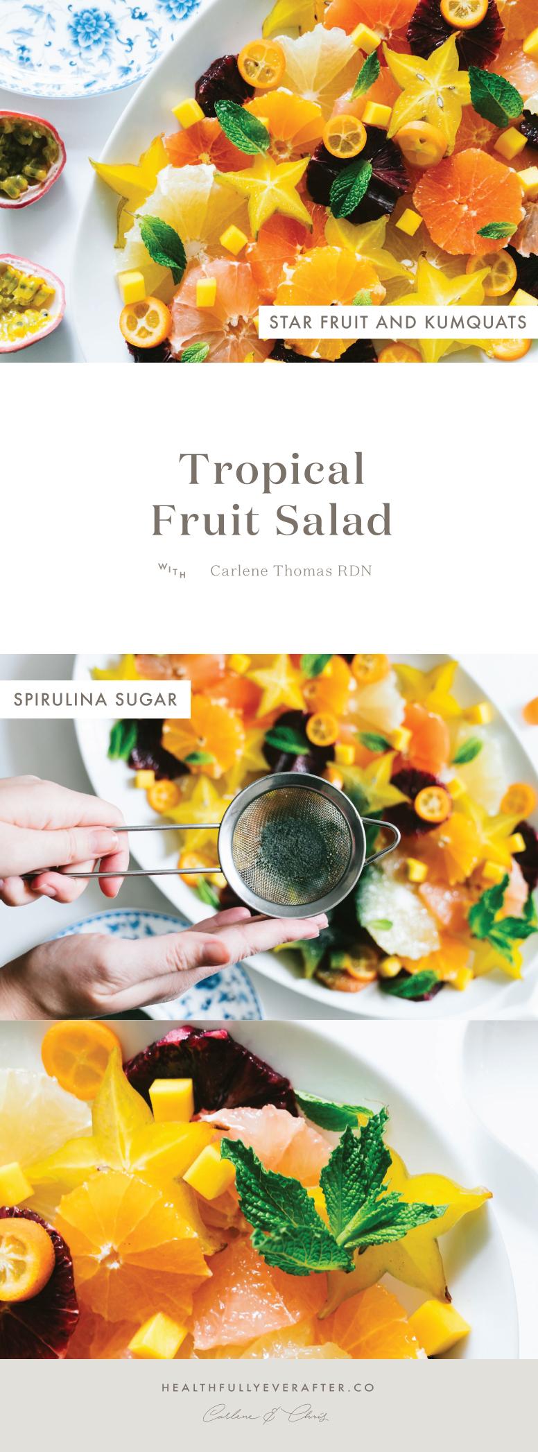 tropical fruit salad with spirulina sugar