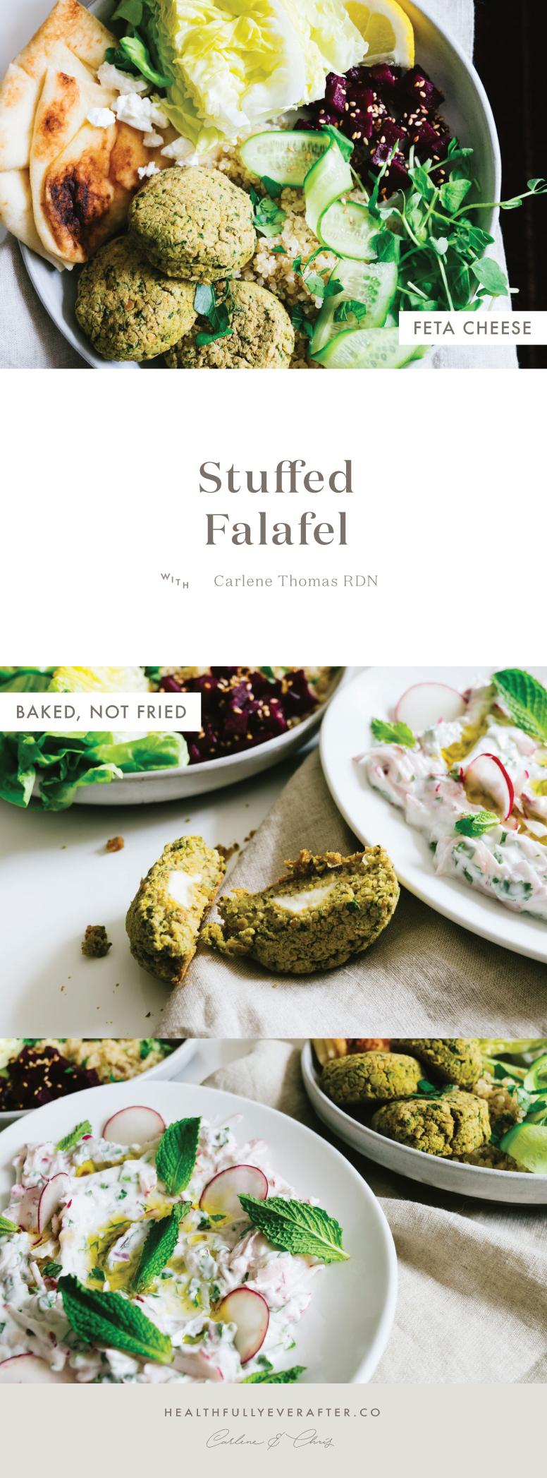 feta baked and stuffed falafel bowl