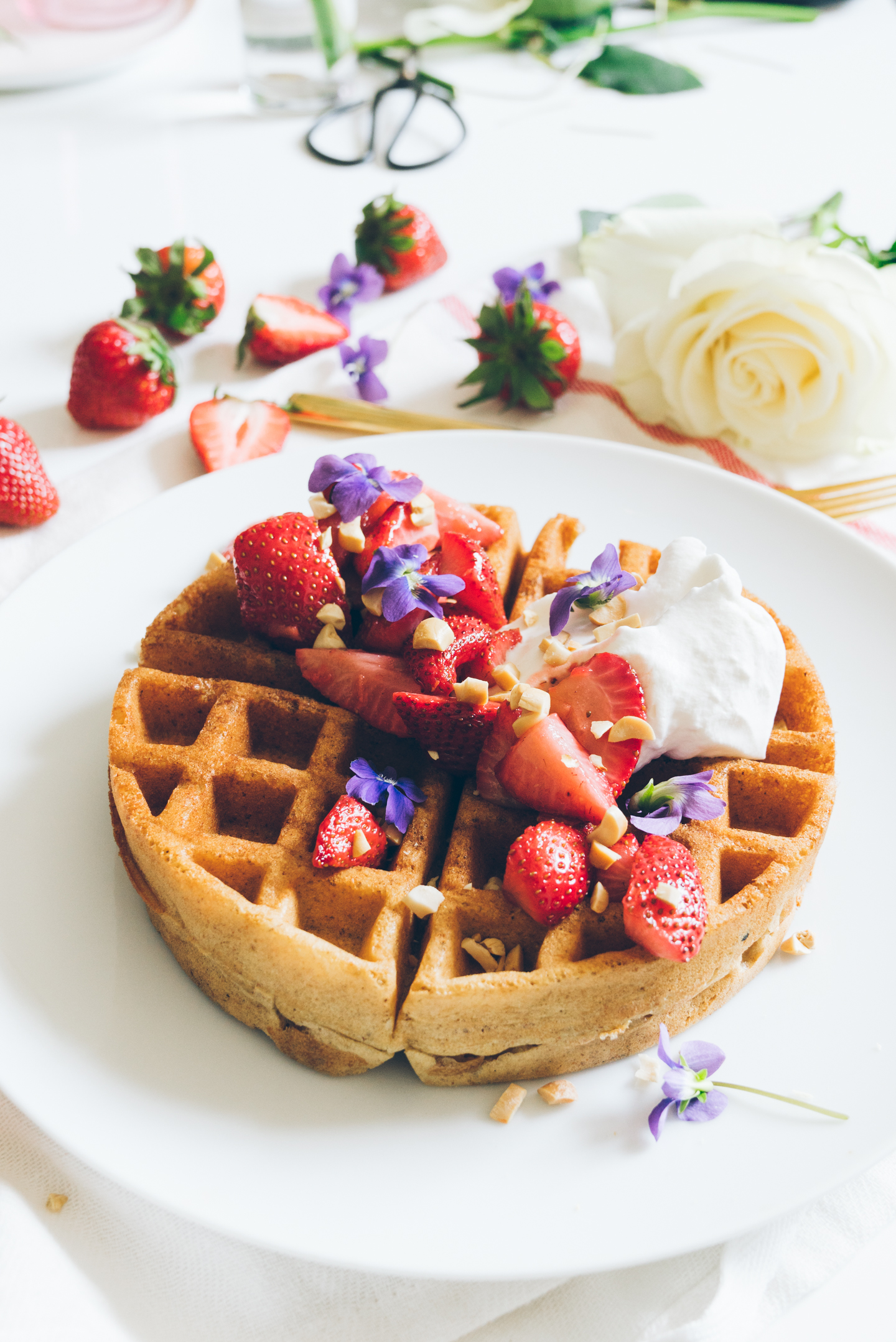 Spring Strawberry Rose Violet Yeast Waffles