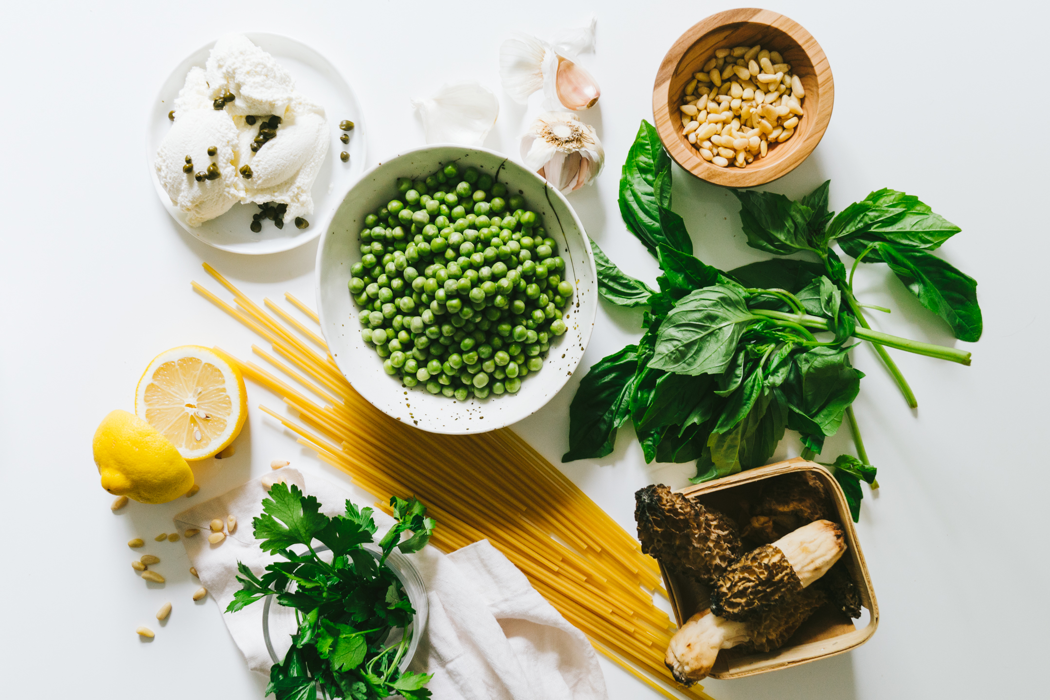 Spring Pea Pesto Bucatini with Ricotta and Capers