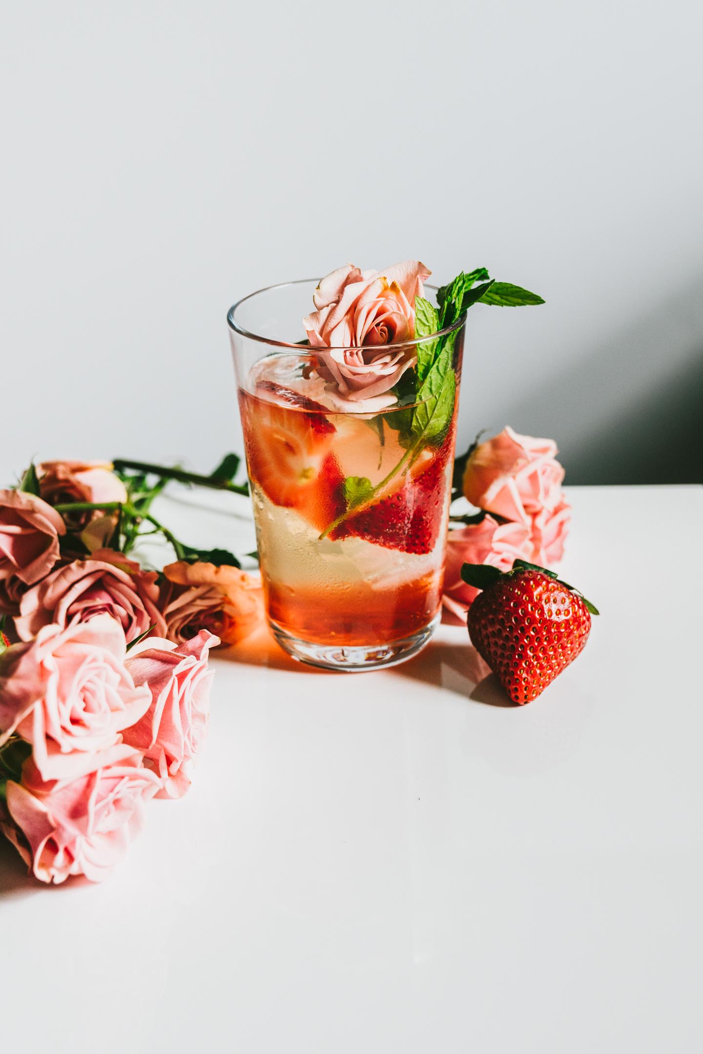 strawberry rose white iced tea