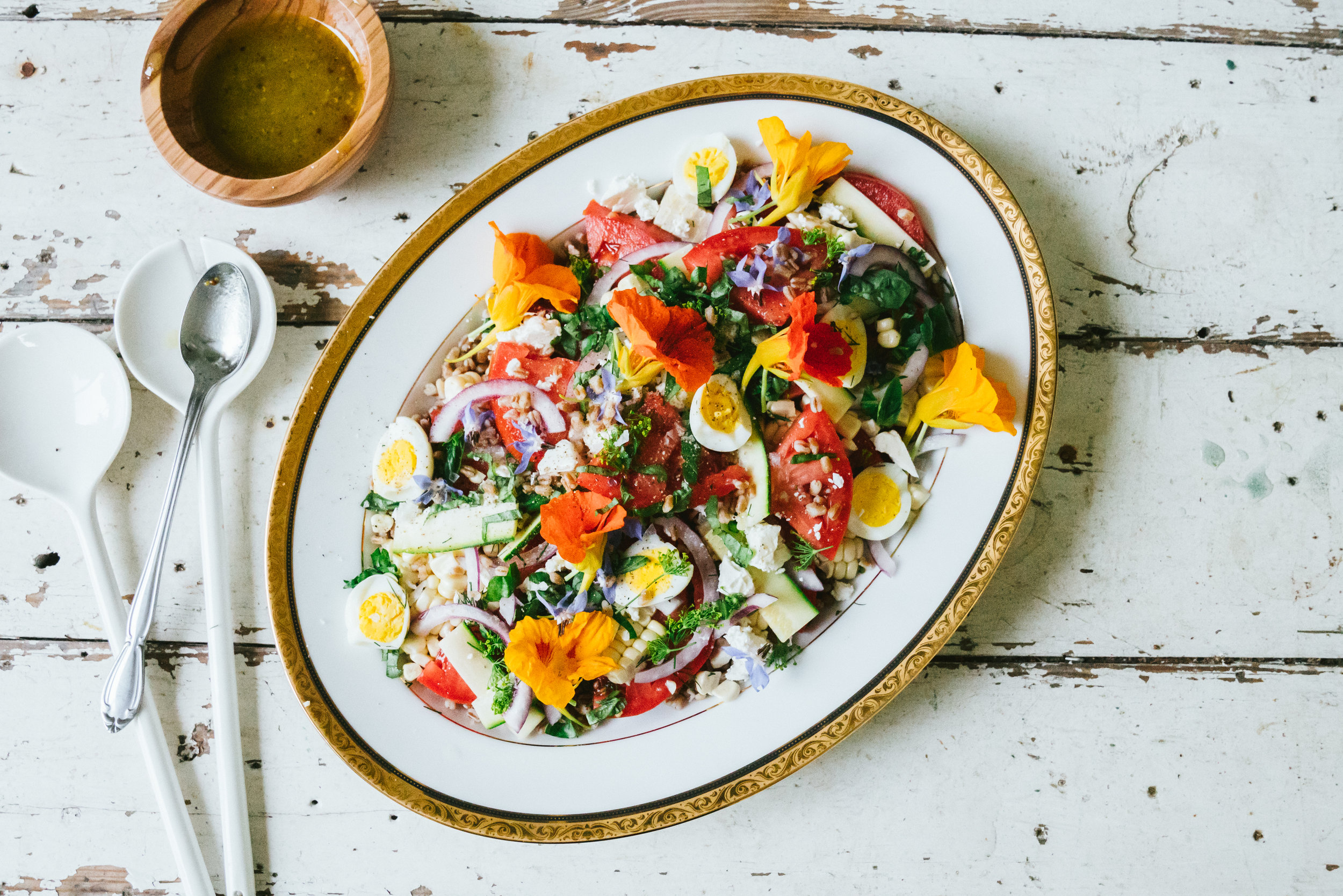 Food and Flowers: June Tomato Salad, Herbs and Country Flowers