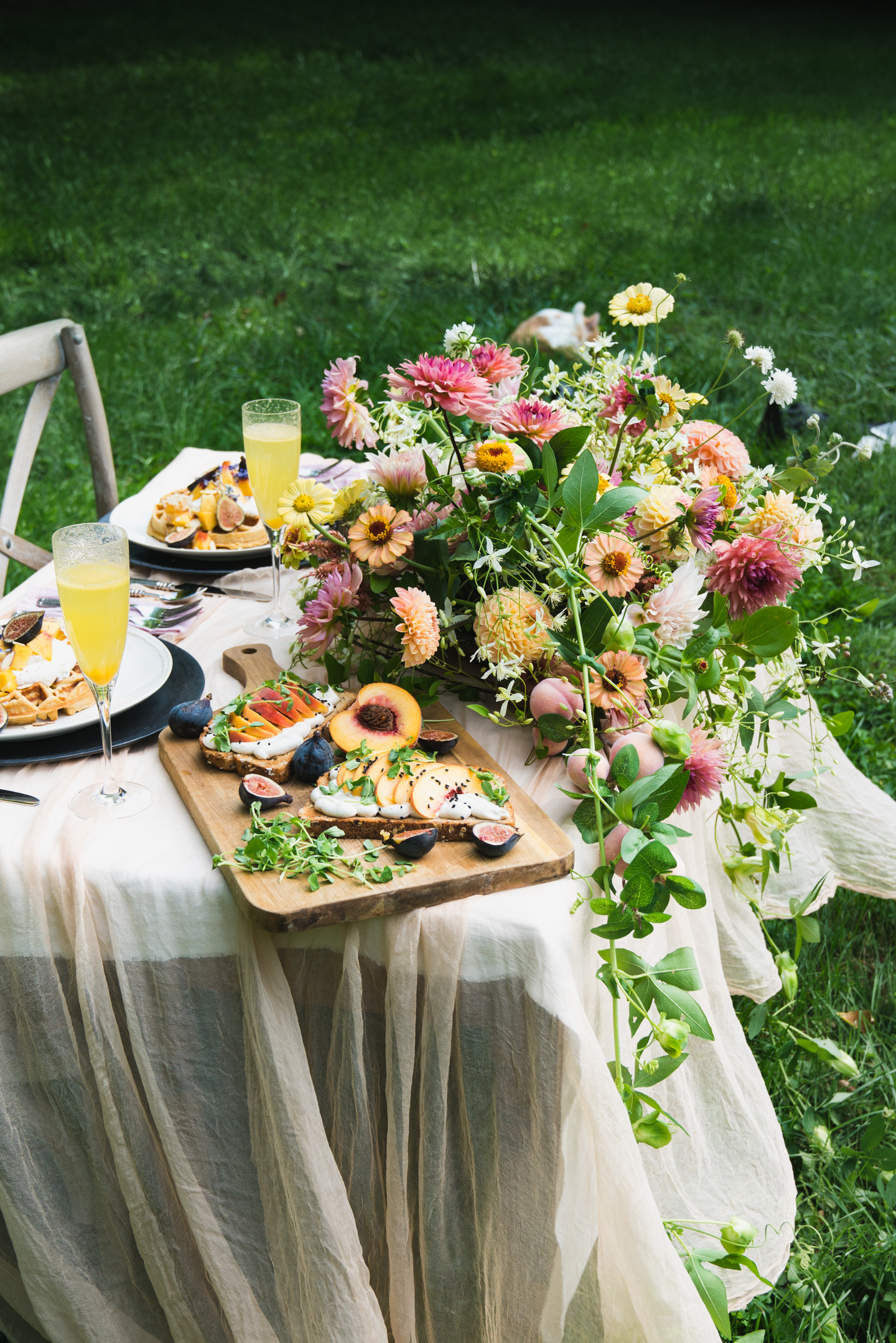 peach food and flowers