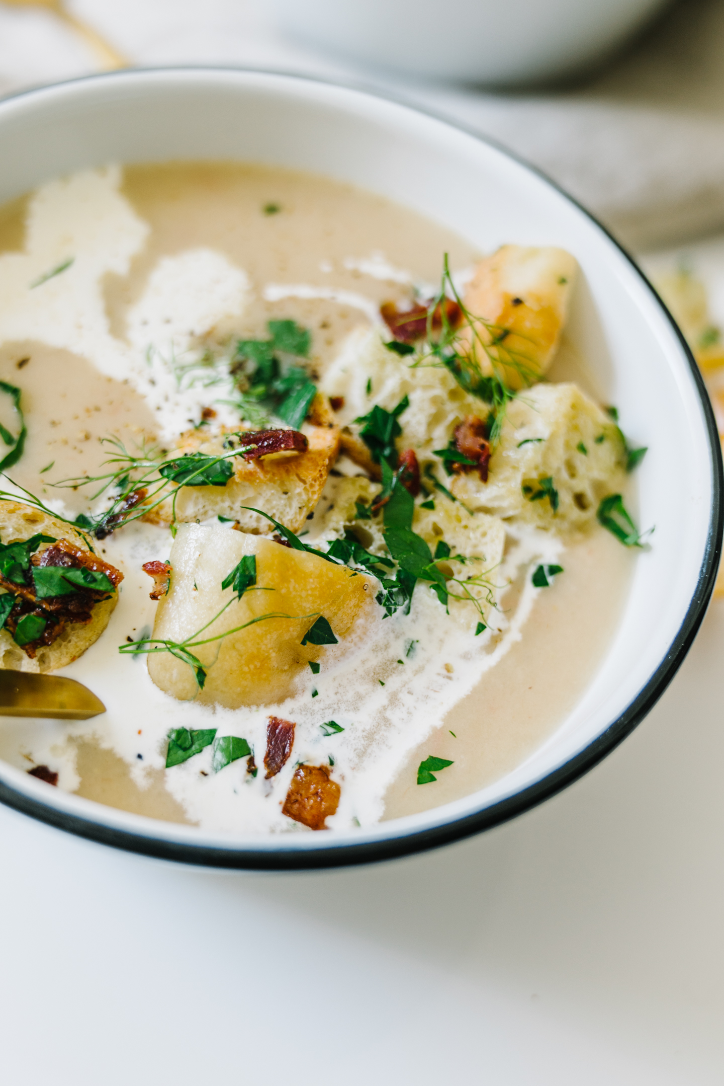Autumn Apple Potato Soup with Garlic Herb Croutons